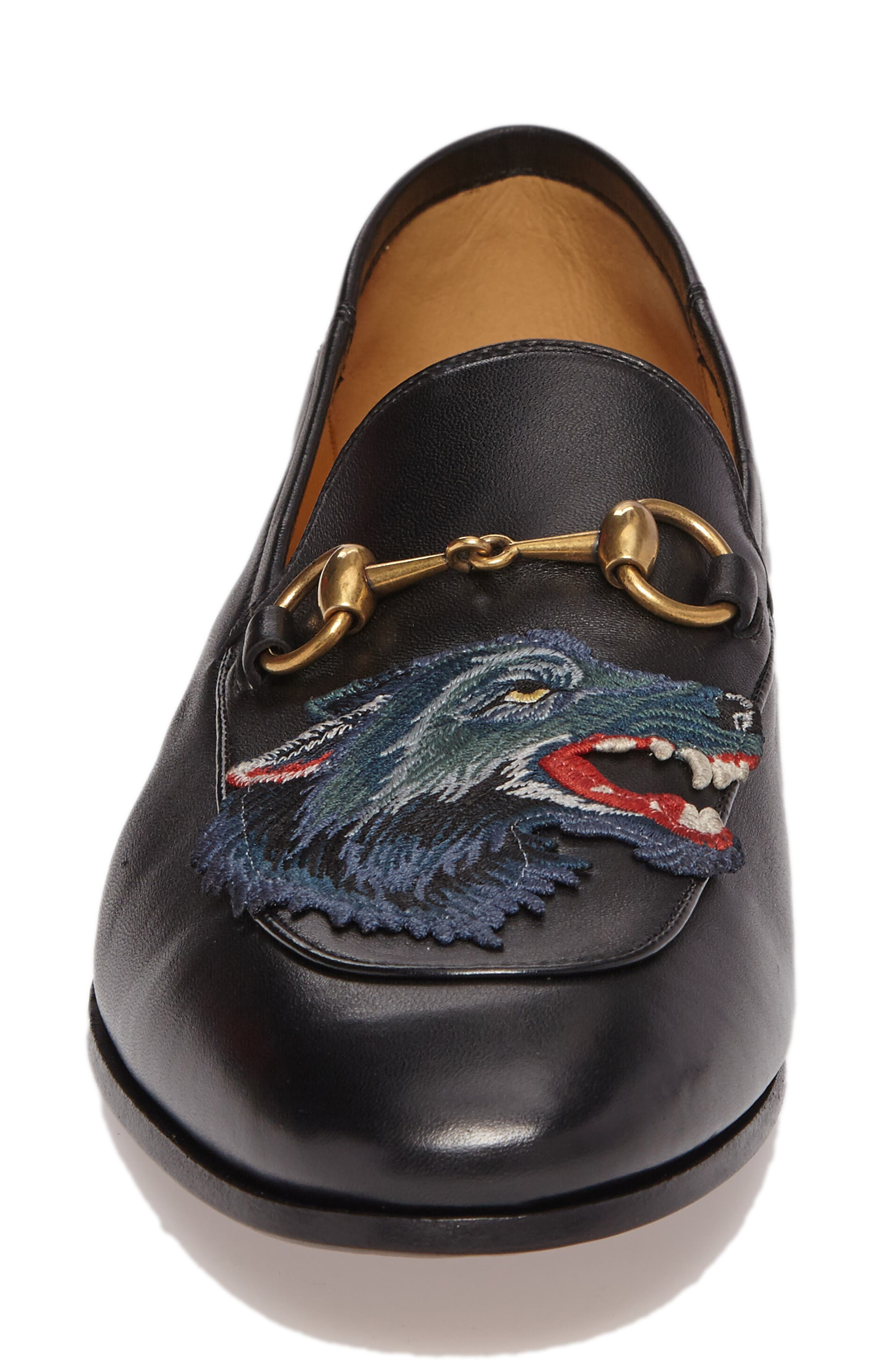 Wolf Leather Loafer,                             Alternate thumbnail 4, color,                             Black/ Blue