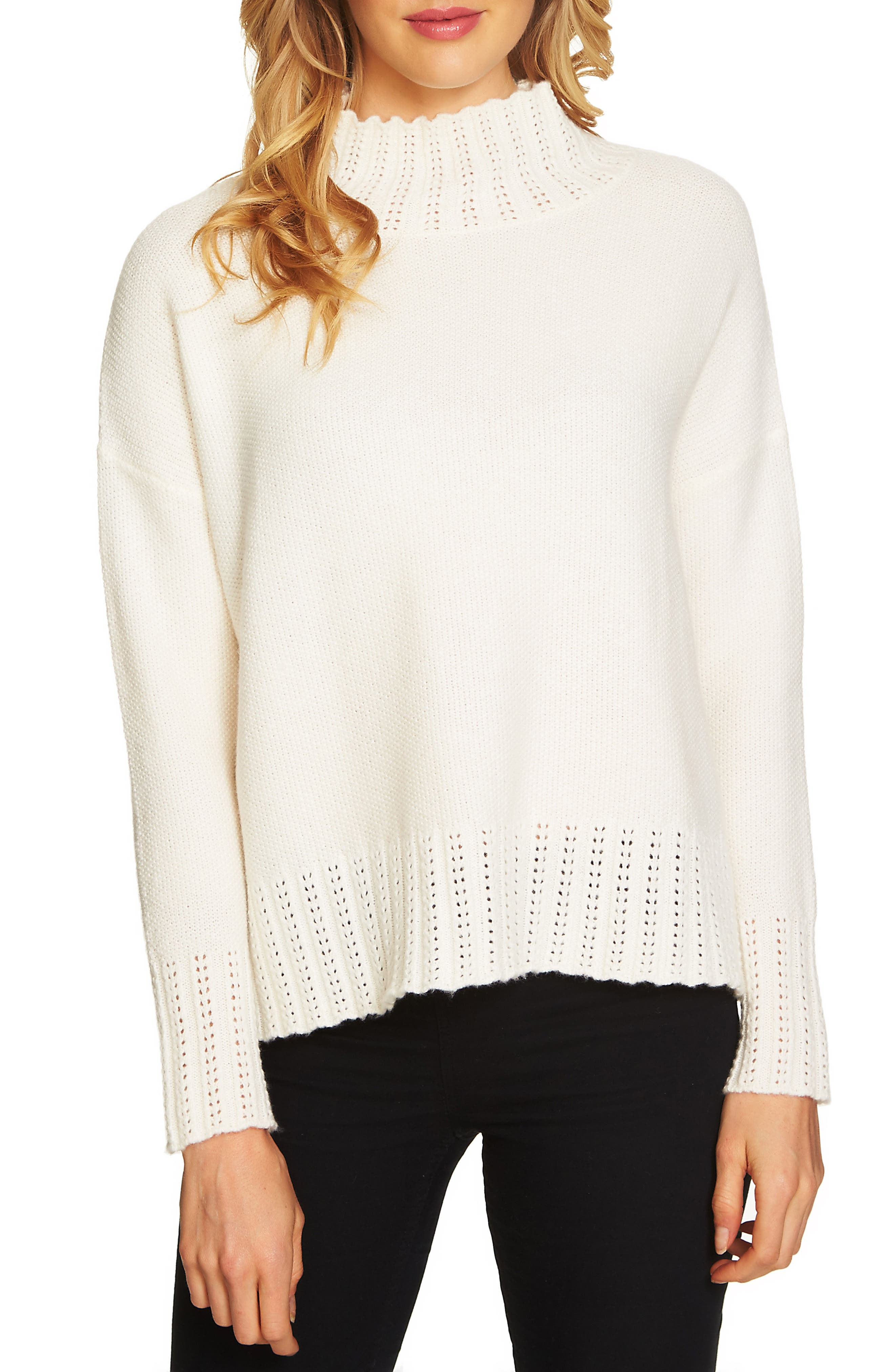 Main Image - Cece Seed Stitch Turtleneck Sweater