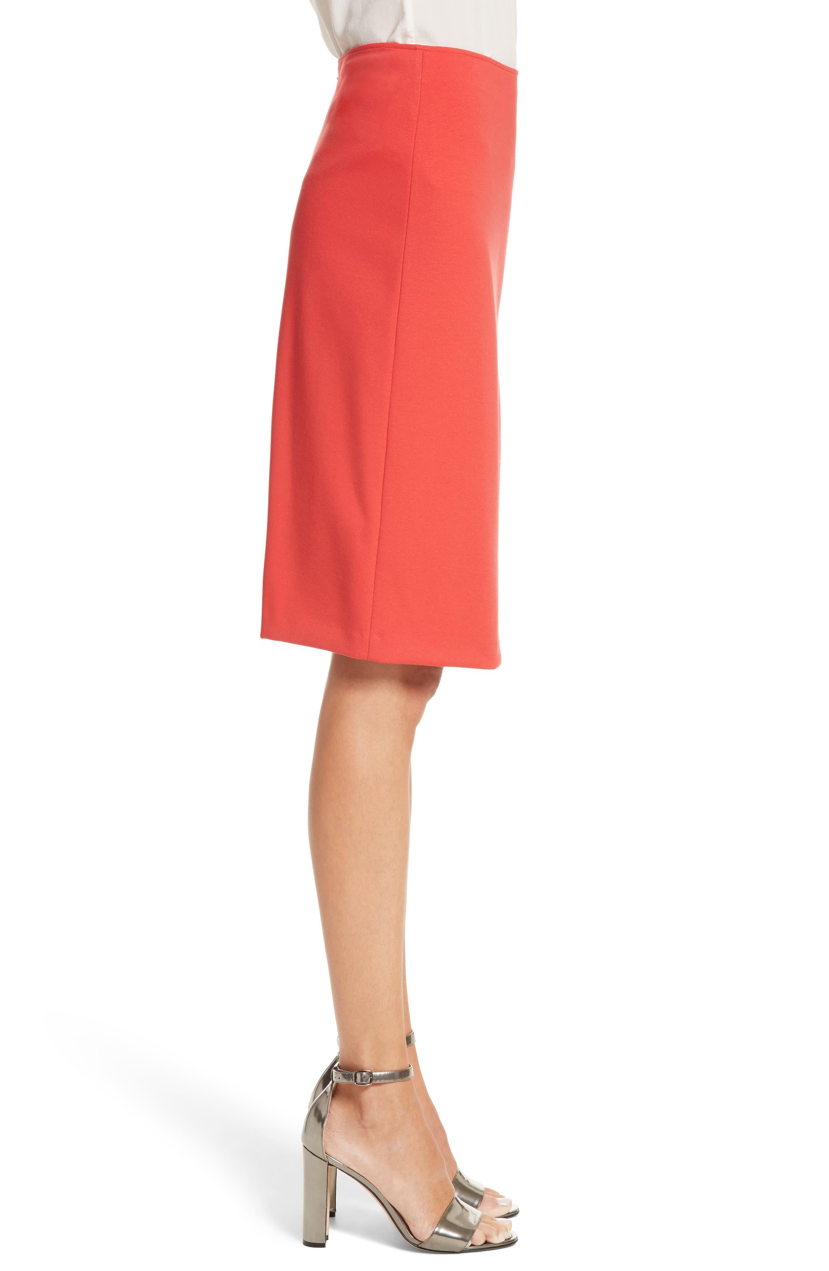 Milano Jersey Pencil Skirt,                             Alternate thumbnail 3, color,                             Solid Bright Orange