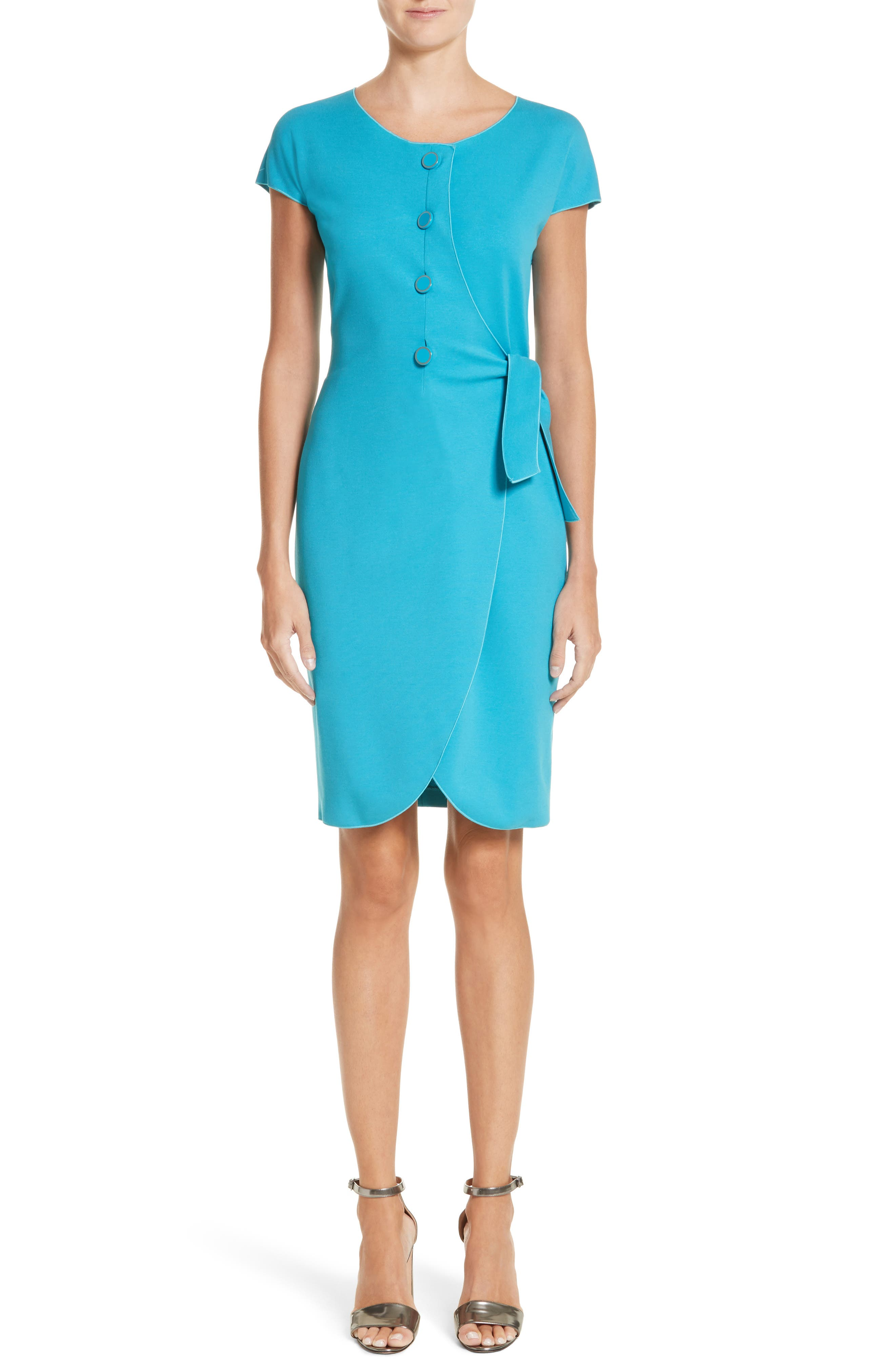 Knotted Wrap Skirt Dress,                             Main thumbnail 1, color,                             Solid Turquoise/ Aqua