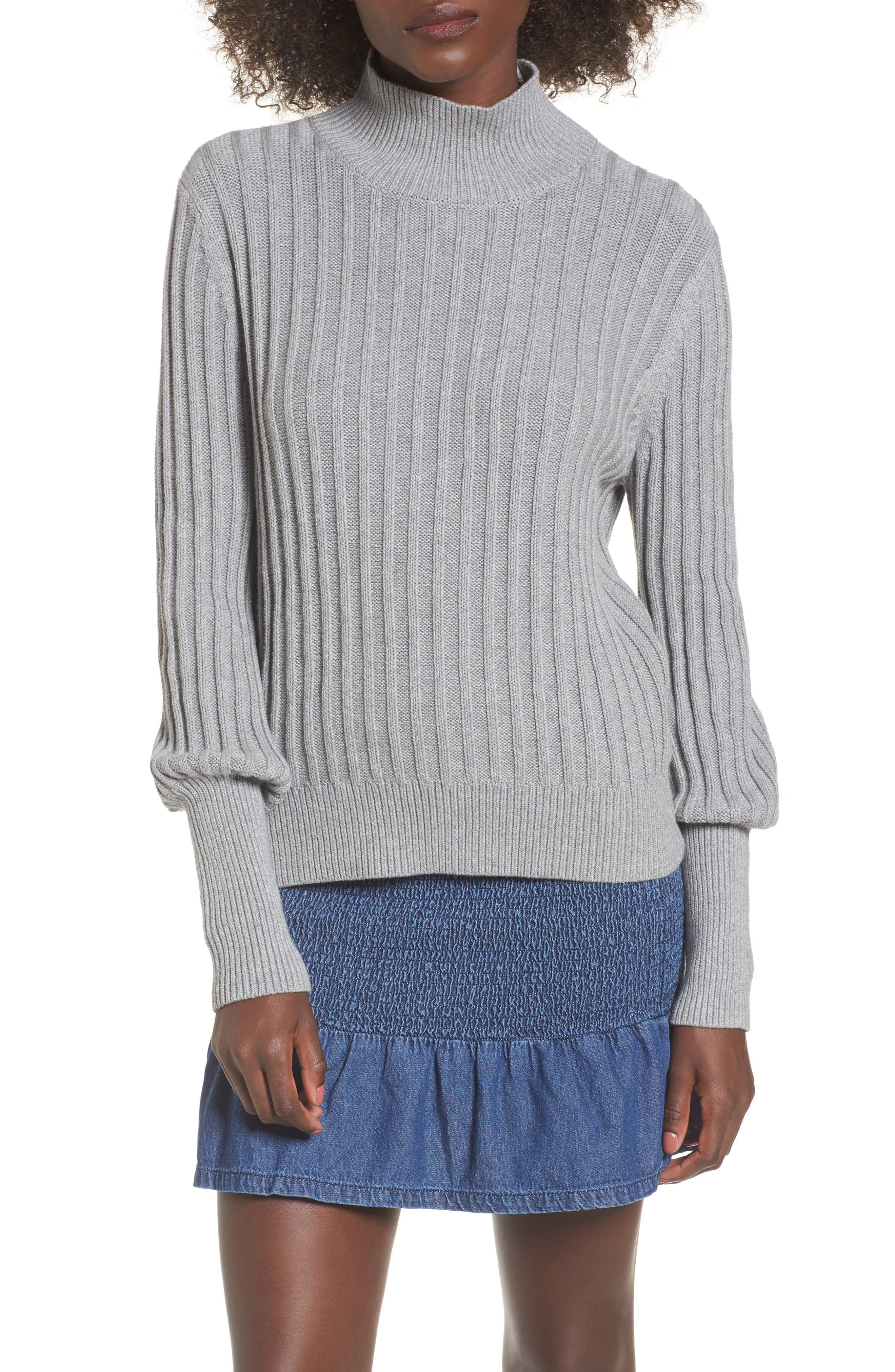 Galactic Puff Sleeve Sweater,                         Main,                         color, Grey Marble