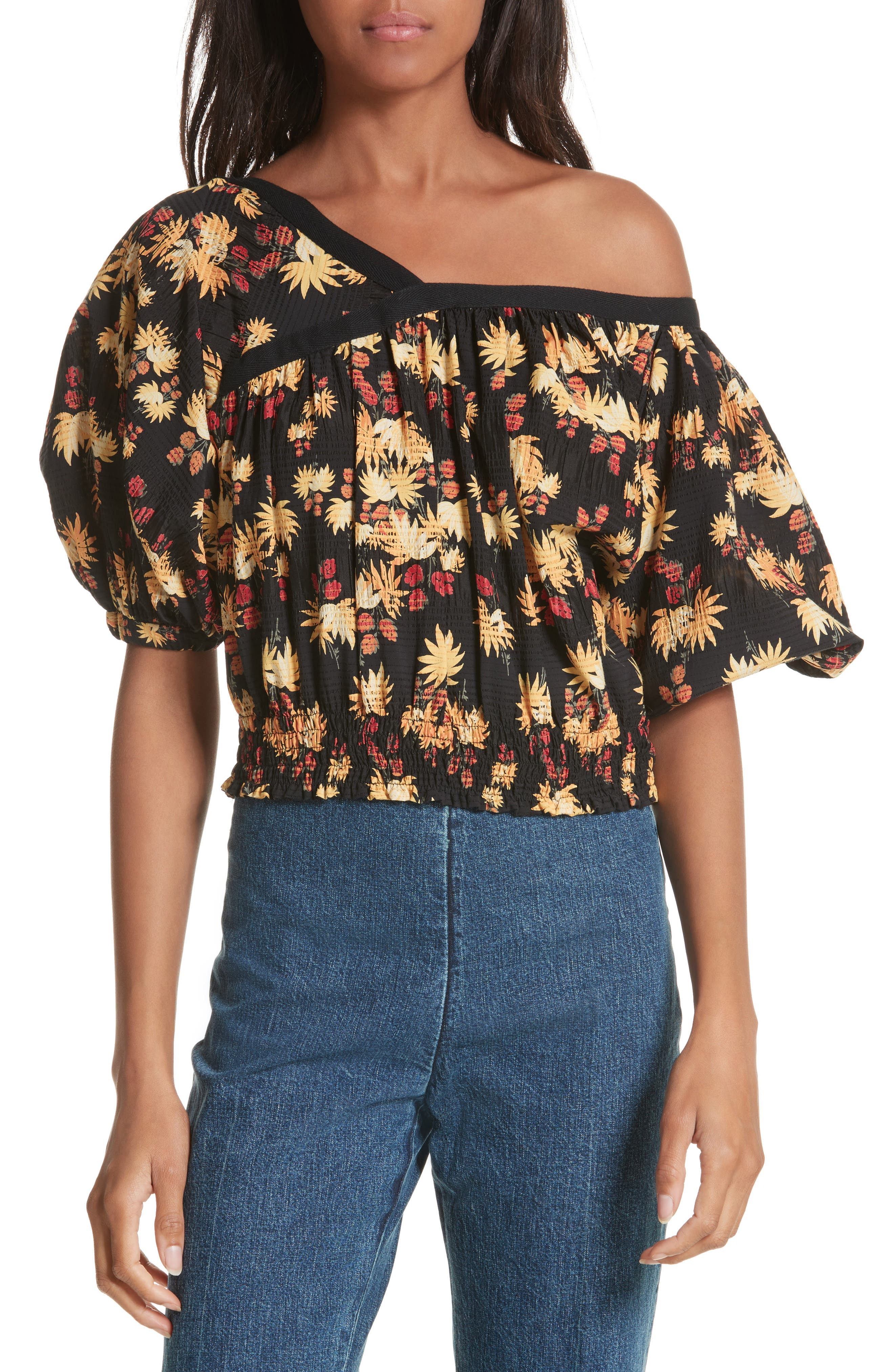 Rachel Comey Delirium Silk & Stretch Cotton Off the Shoulder Top