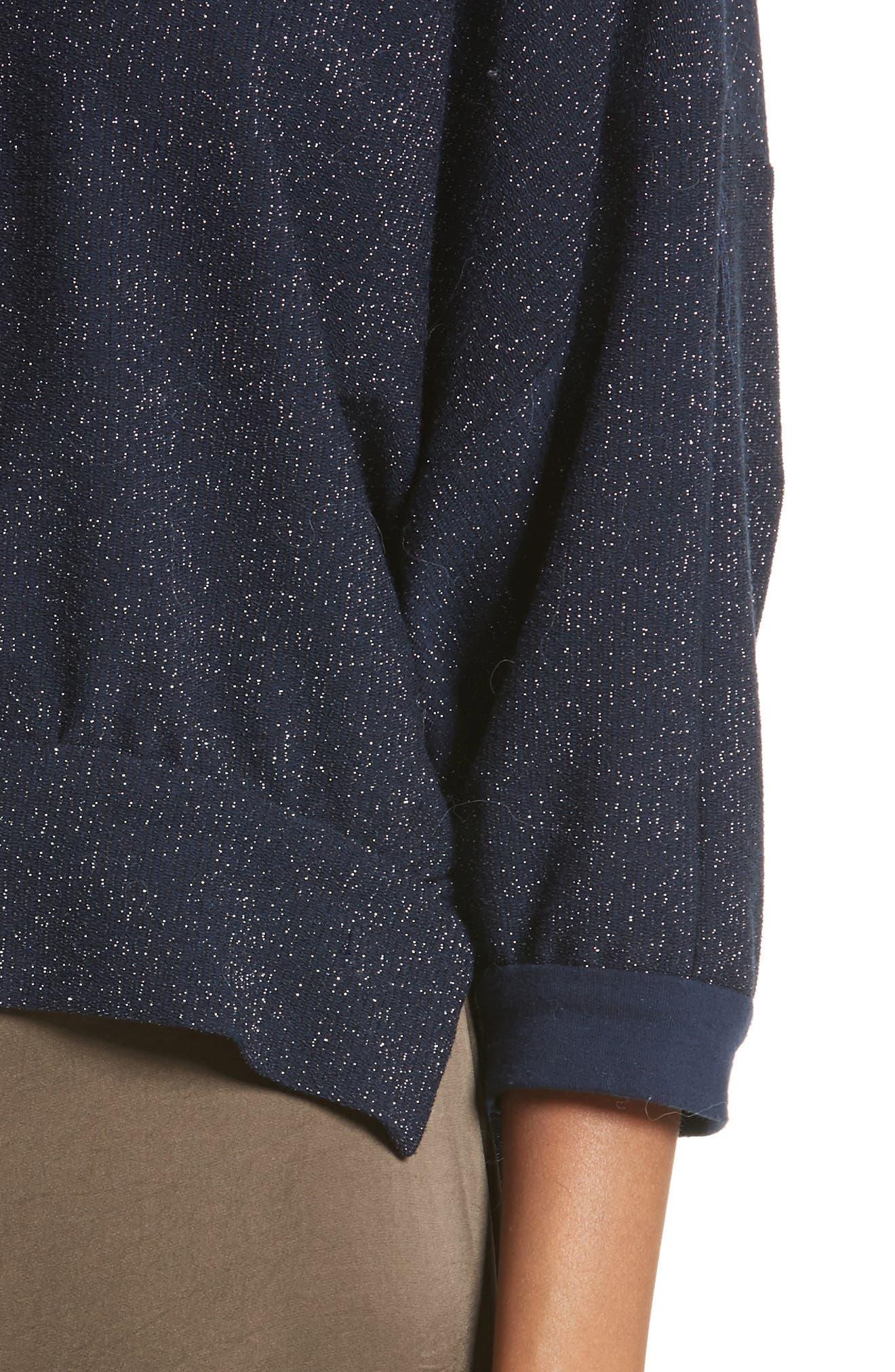 Bae Metallic Knit Top,                             Alternate thumbnail 4, color,                             Navy