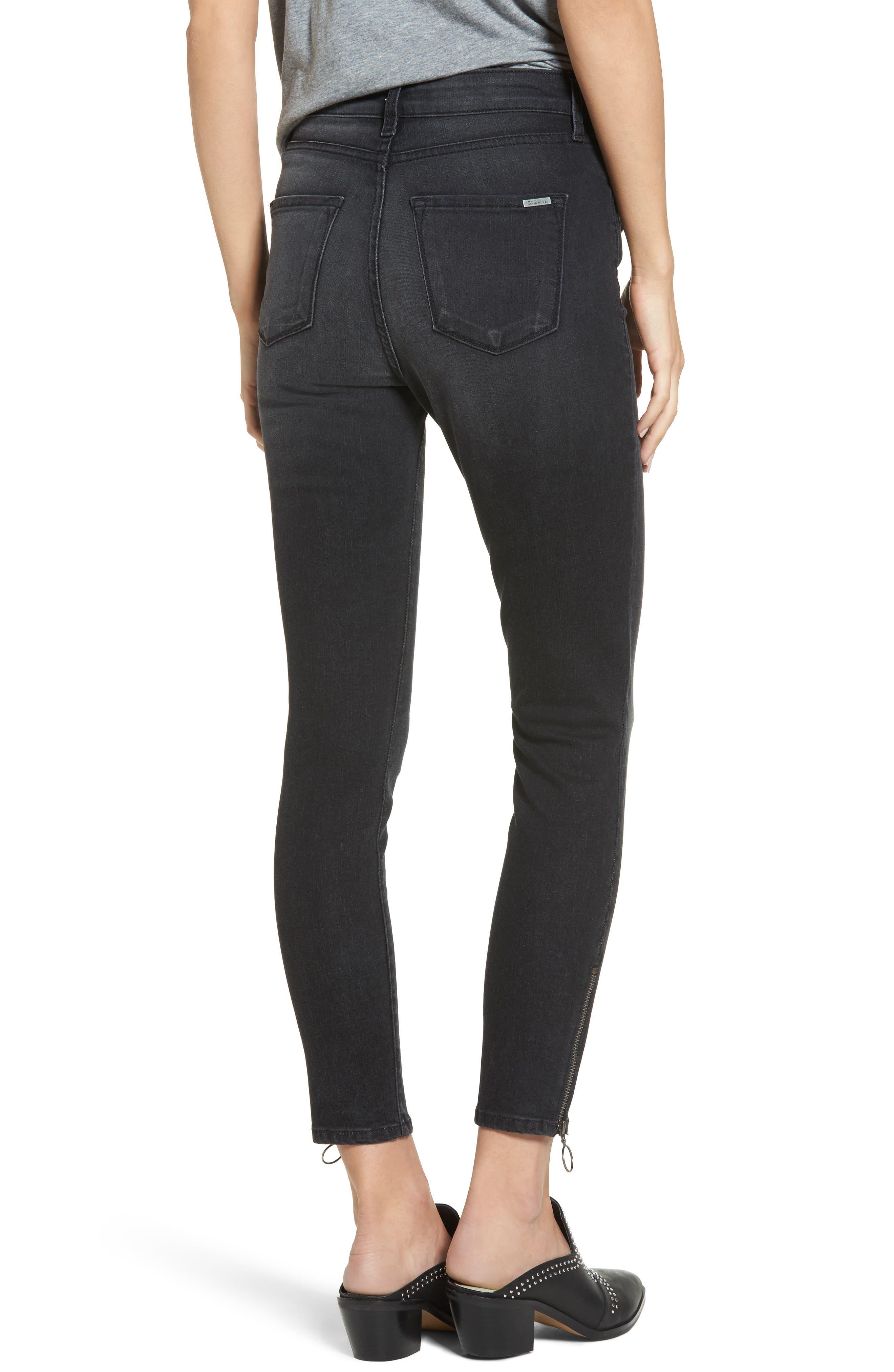Ashley Zip Detail High Waist Skinny Jeans,                             Alternate thumbnail 2, color,                             Wilshire