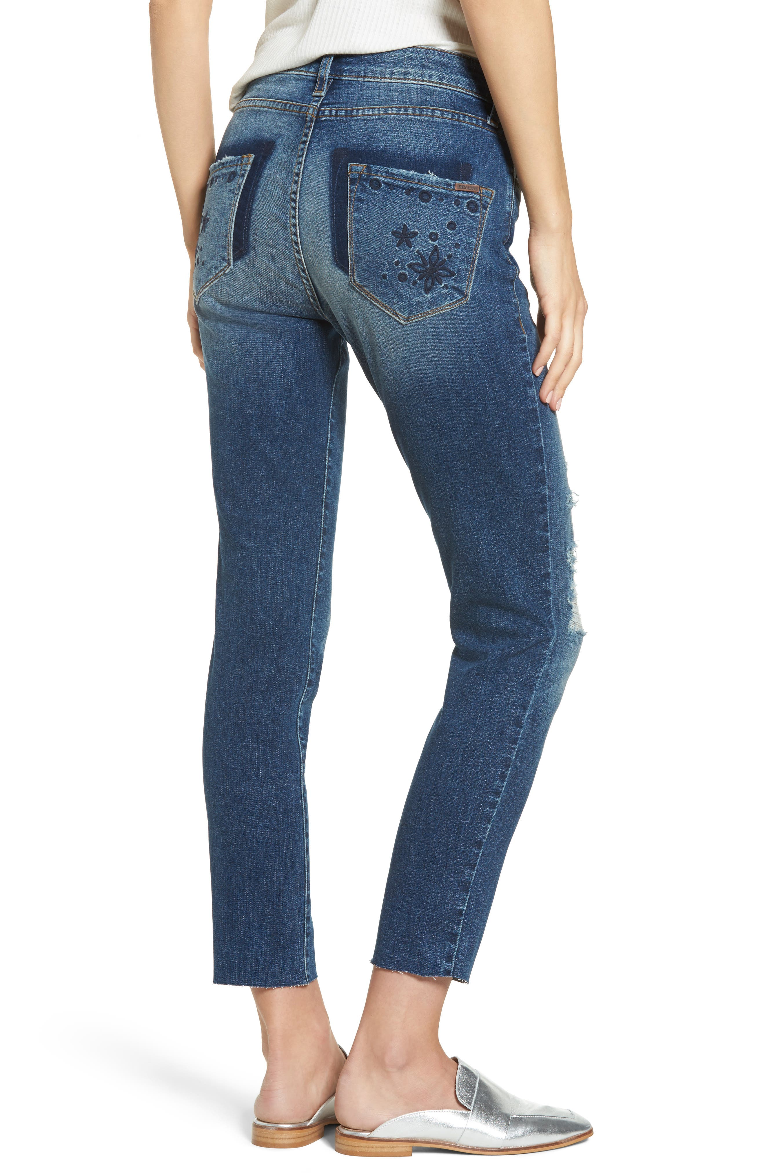 Taylor Distressed and Embroidered Straight Leg Jeans,                             Alternate thumbnail 2, color,                             Rosedale