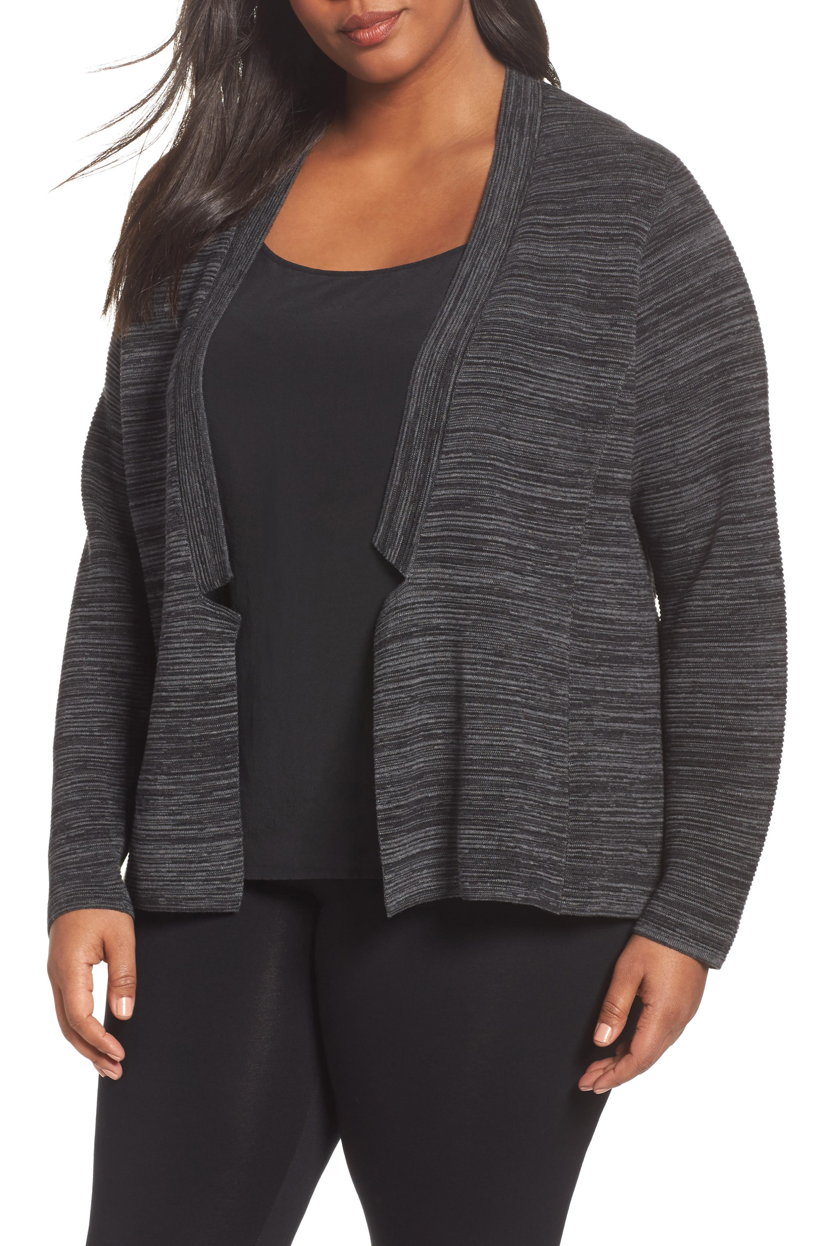 Tencel<sup>®</sup> & Organic Cotton Cardigan,                             Main thumbnail 1, color,                             Black