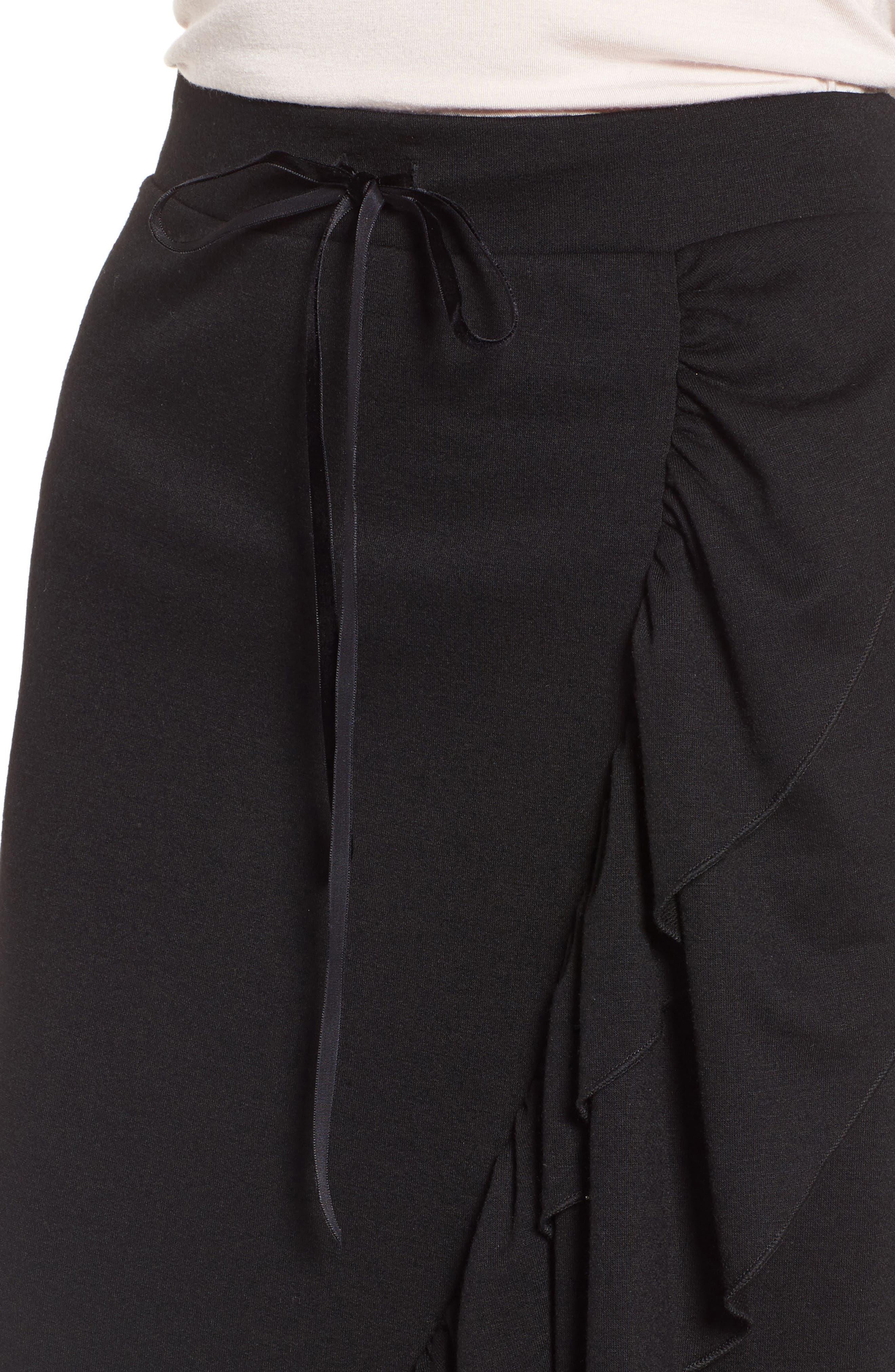 Ruffle Midi Skirt,                             Alternate thumbnail 4, color,                             Black