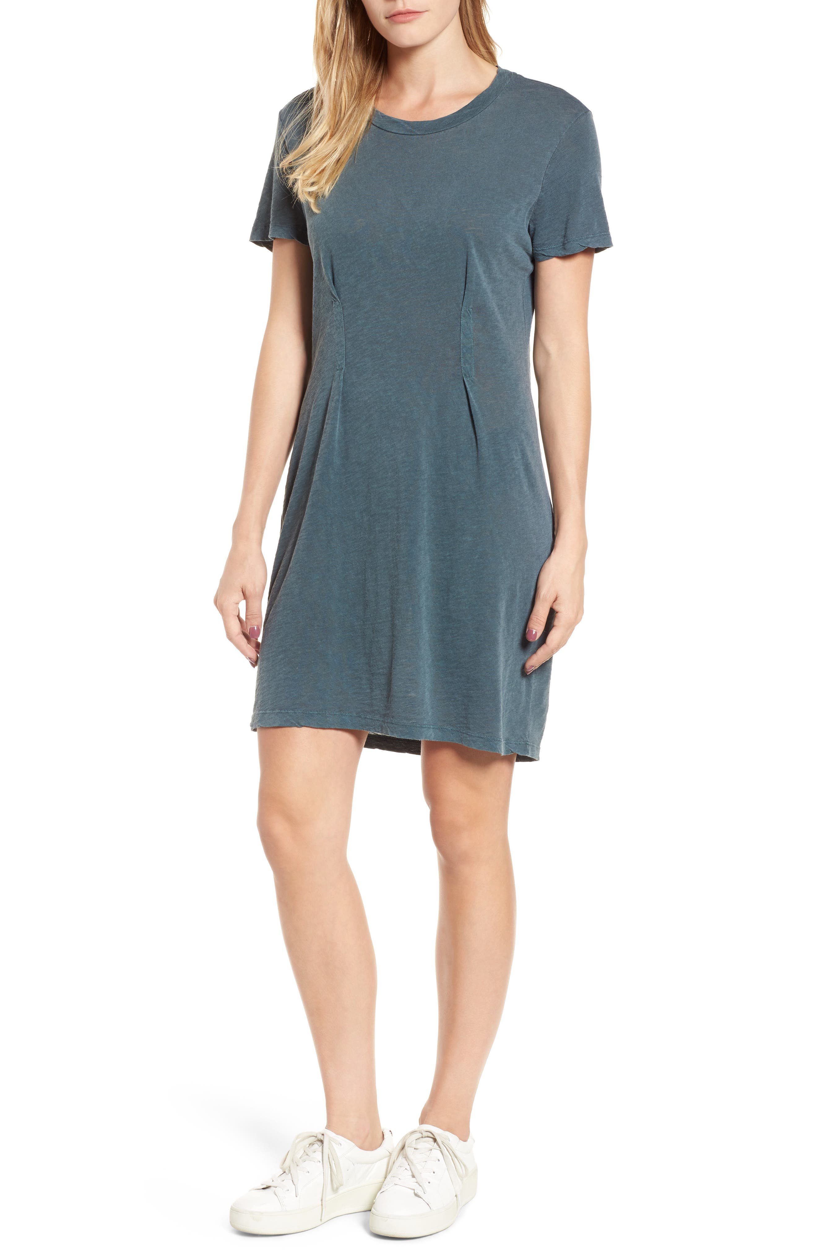 Pleat T-Shirt Dress,                             Main thumbnail 1, color,                             Pine