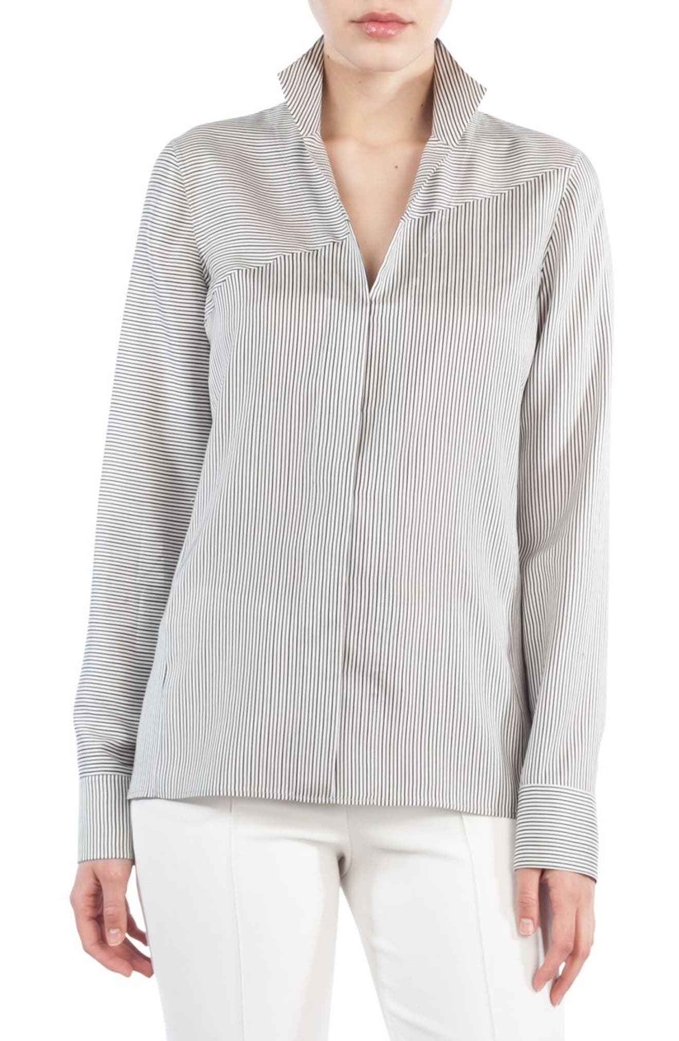 Akris Stripe Silk Satin Tunic Blouse