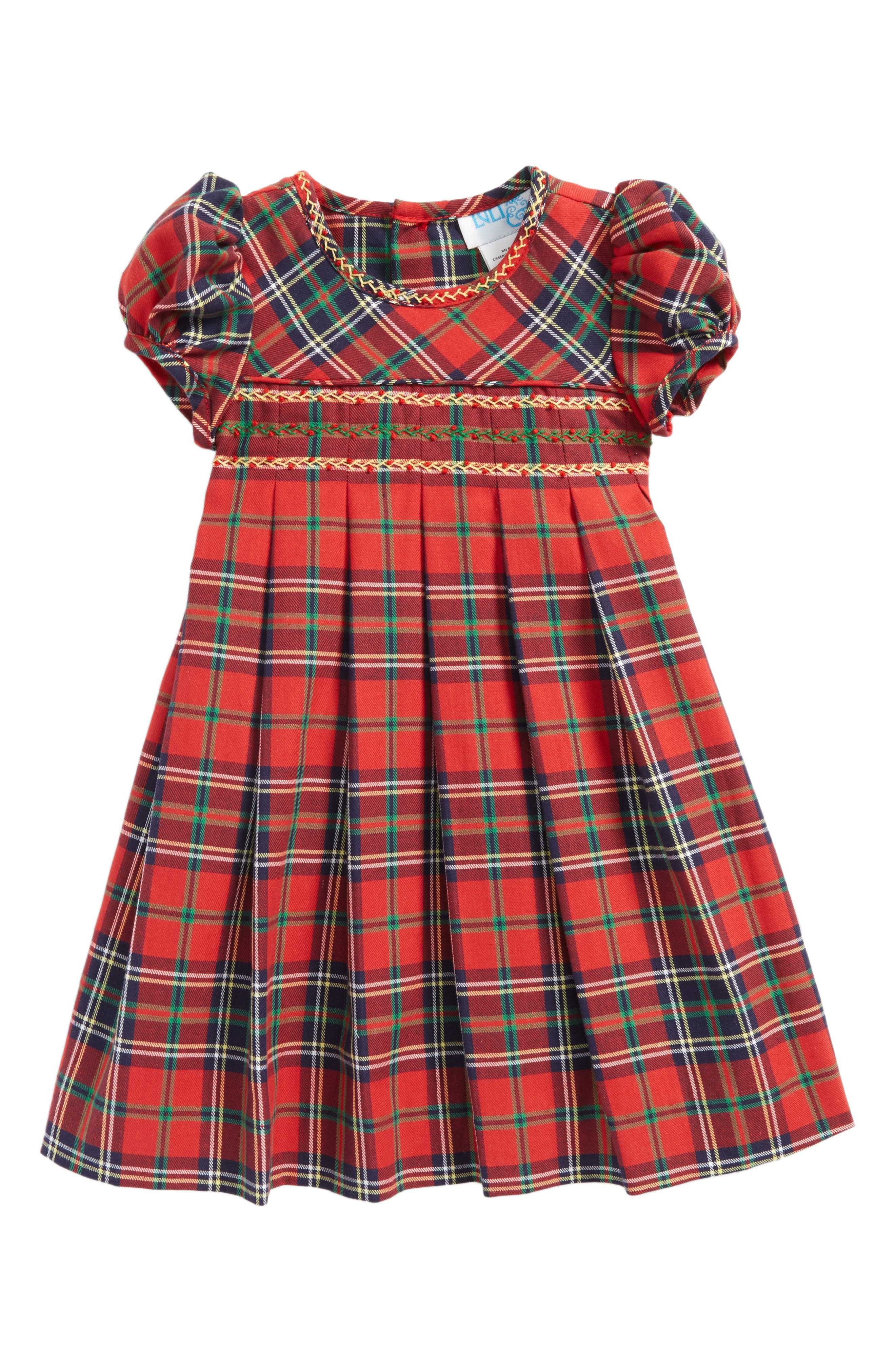 Plaid Pleated Dress,                             Main thumbnail 1, color,                             Red