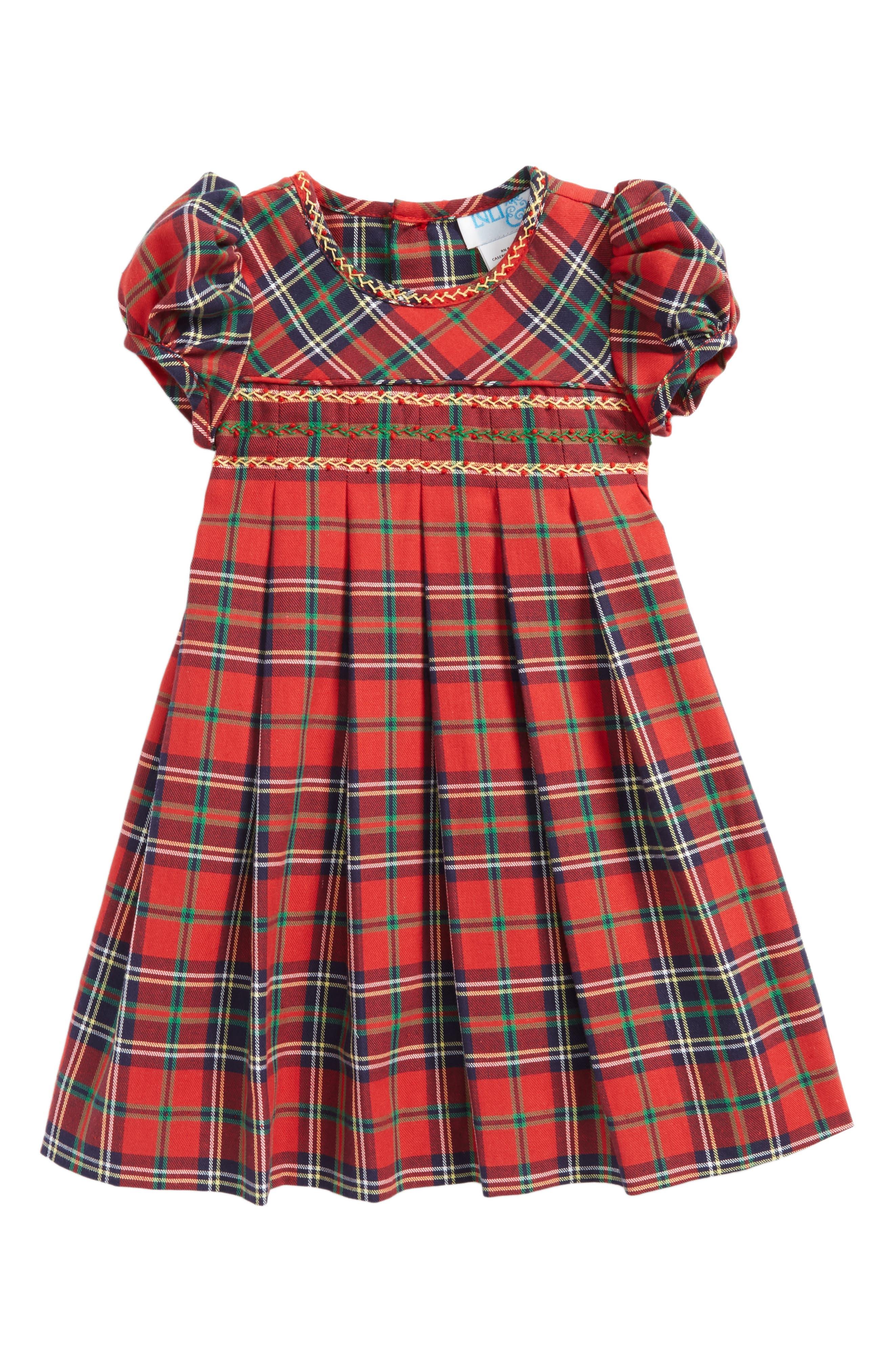 Luli & Me Plaid Pleated Dress (Baby Girls)