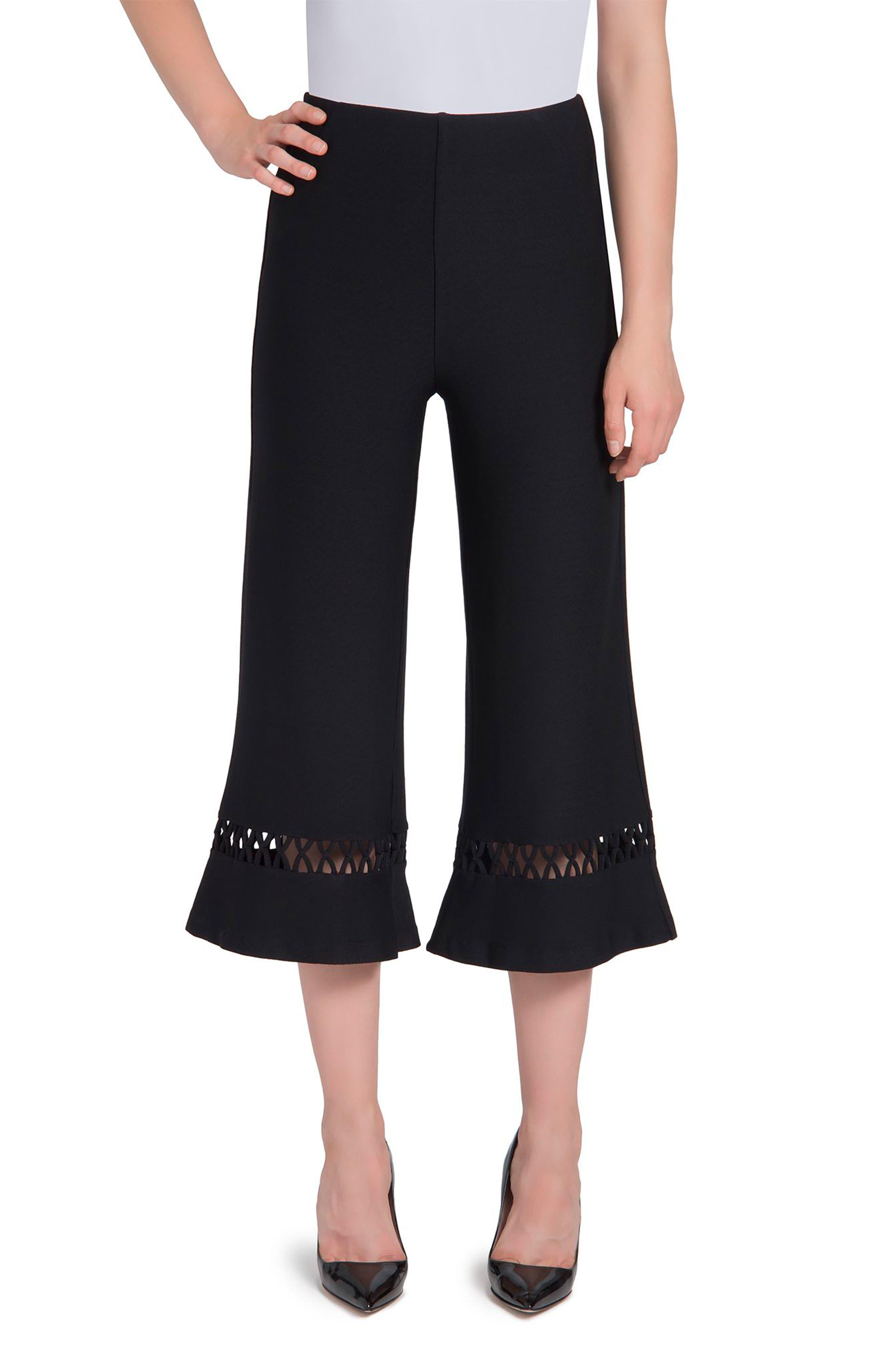 Cecily High Waist Crop Palazzo Pants,                         Main,                         color, Black
