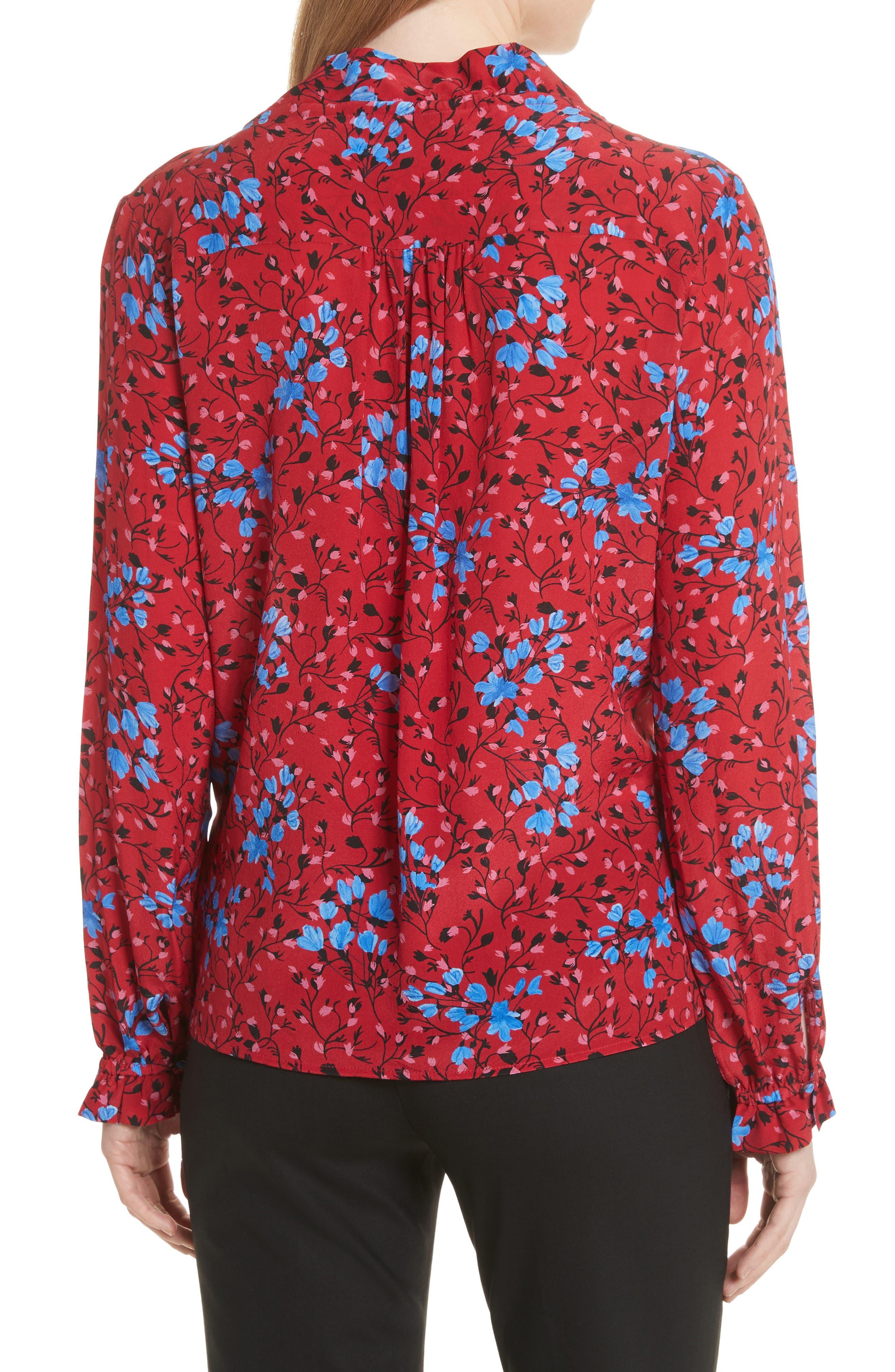 Ali Floral Print Silk Top,                             Alternate thumbnail 2, color,                             Scarlet Posey