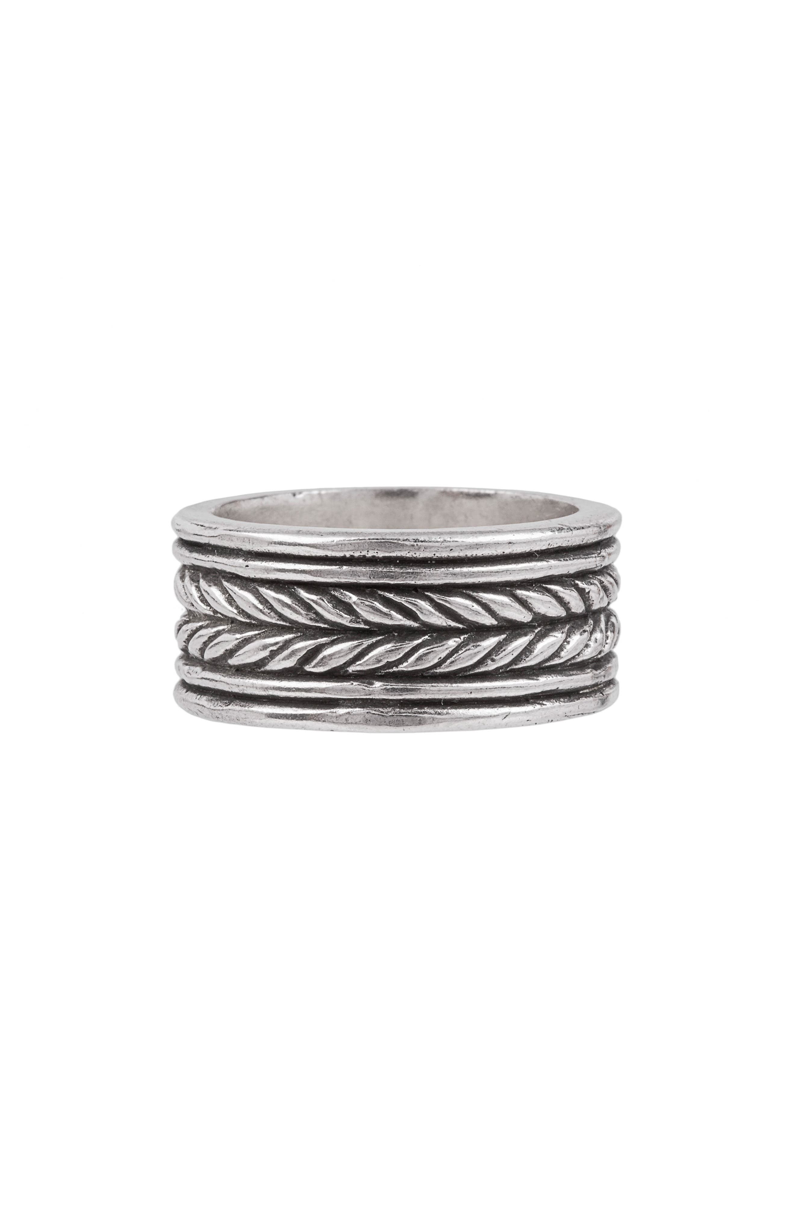 Rope Band Ring,                         Main,                         color, Silver