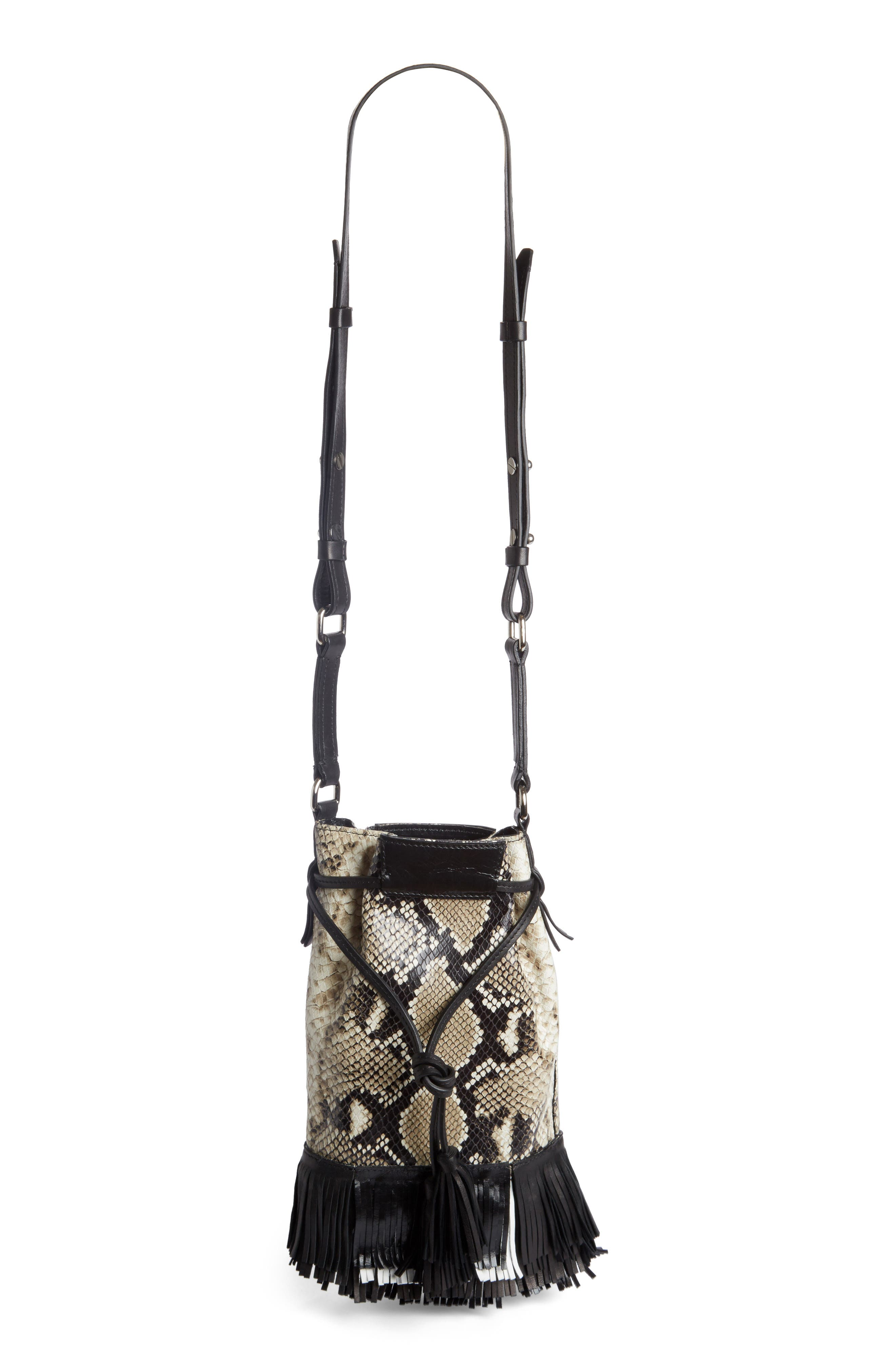 Askiah Fringed Snake Embossed Leather Crossbody Bag,                             Main thumbnail 1, color,                             Beige/ Dore