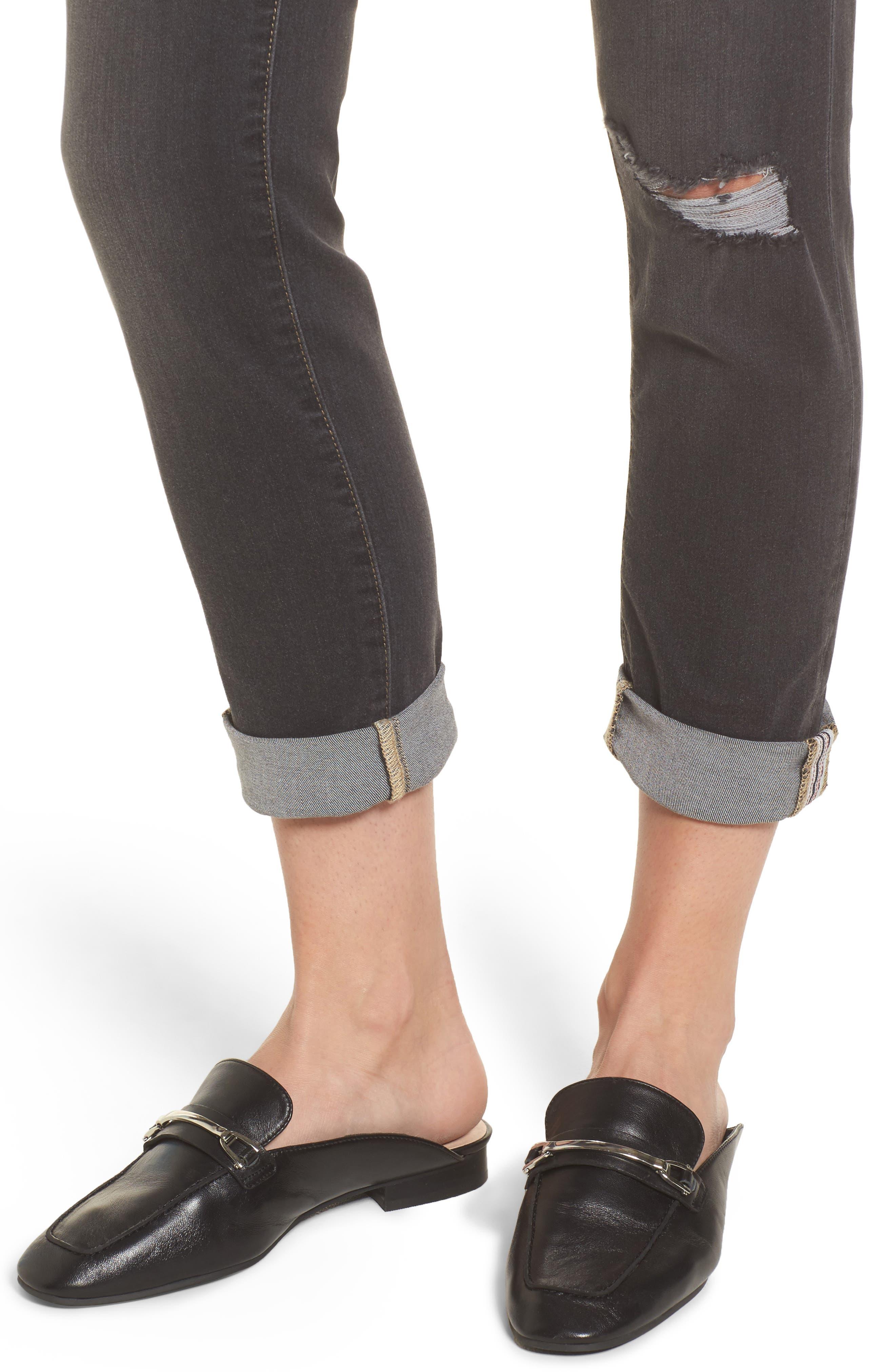 Carter Cuffed Girlfriend Jeans,                             Alternate thumbnail 4, color,                             Dark Grey