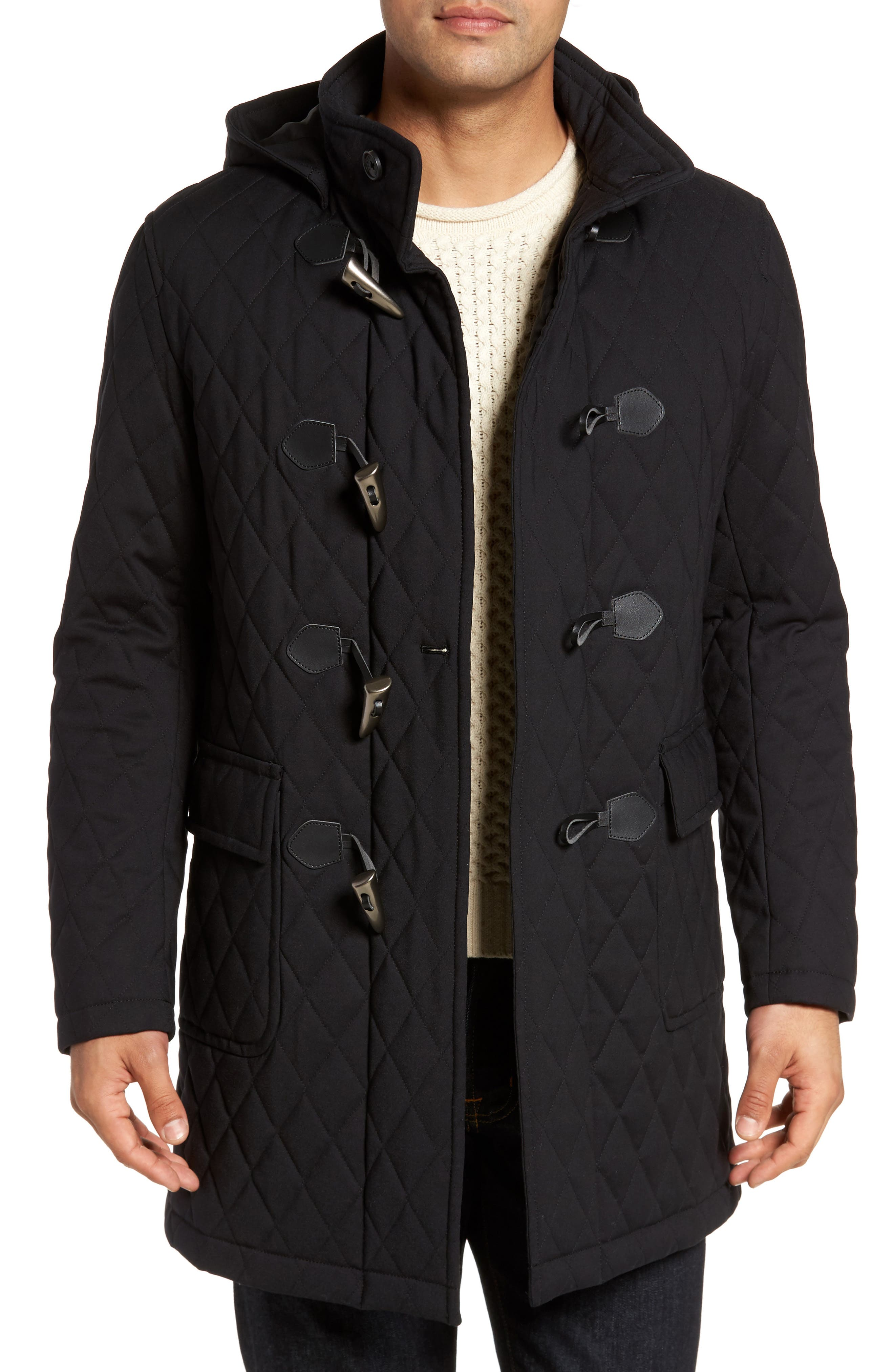 Francisco Quilted Duffle Coat,                         Main,                         color, Black
