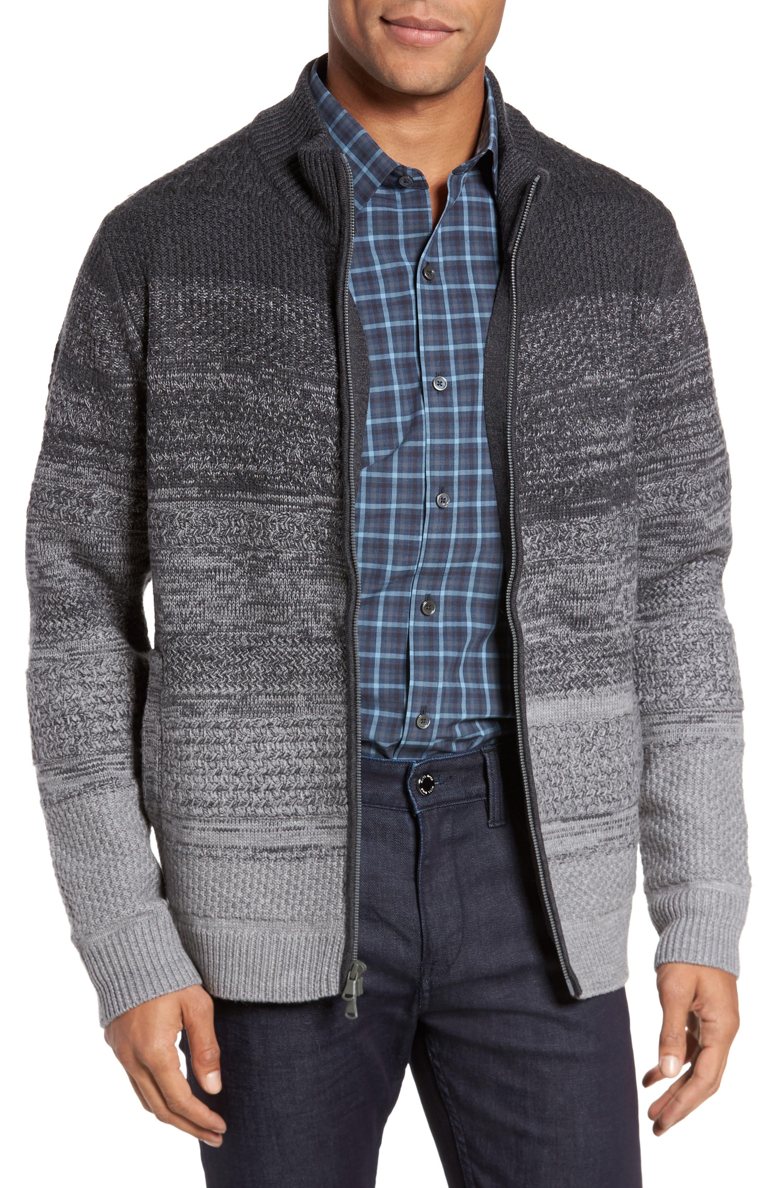 Hawkins Degrade Merino Full Zip Cardigan,                             Main thumbnail 1, color,                             Grey