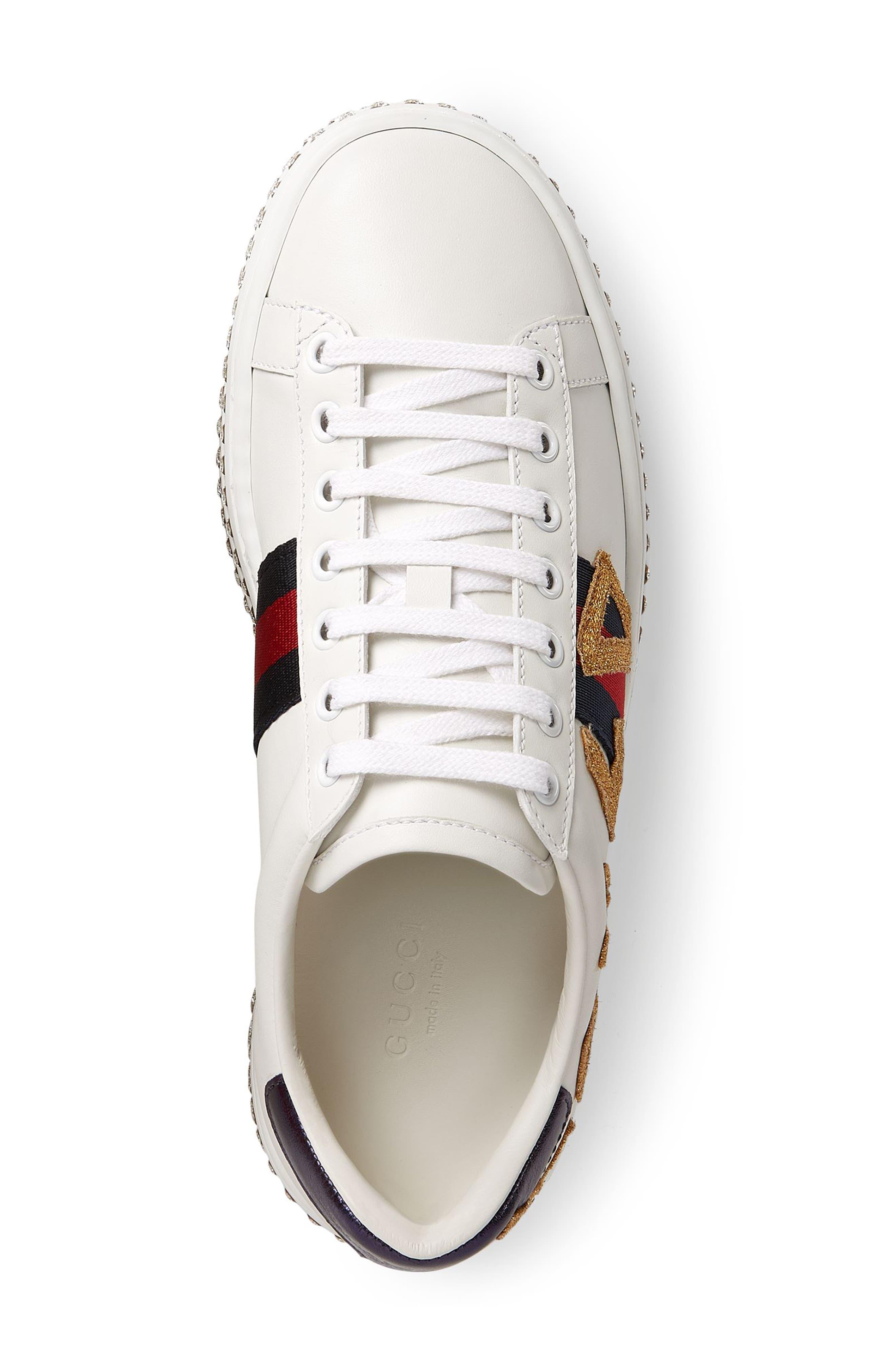 Alternate Image 4  - Gucci New Ace Crystal Embellished Flatform Sneaker (Women)