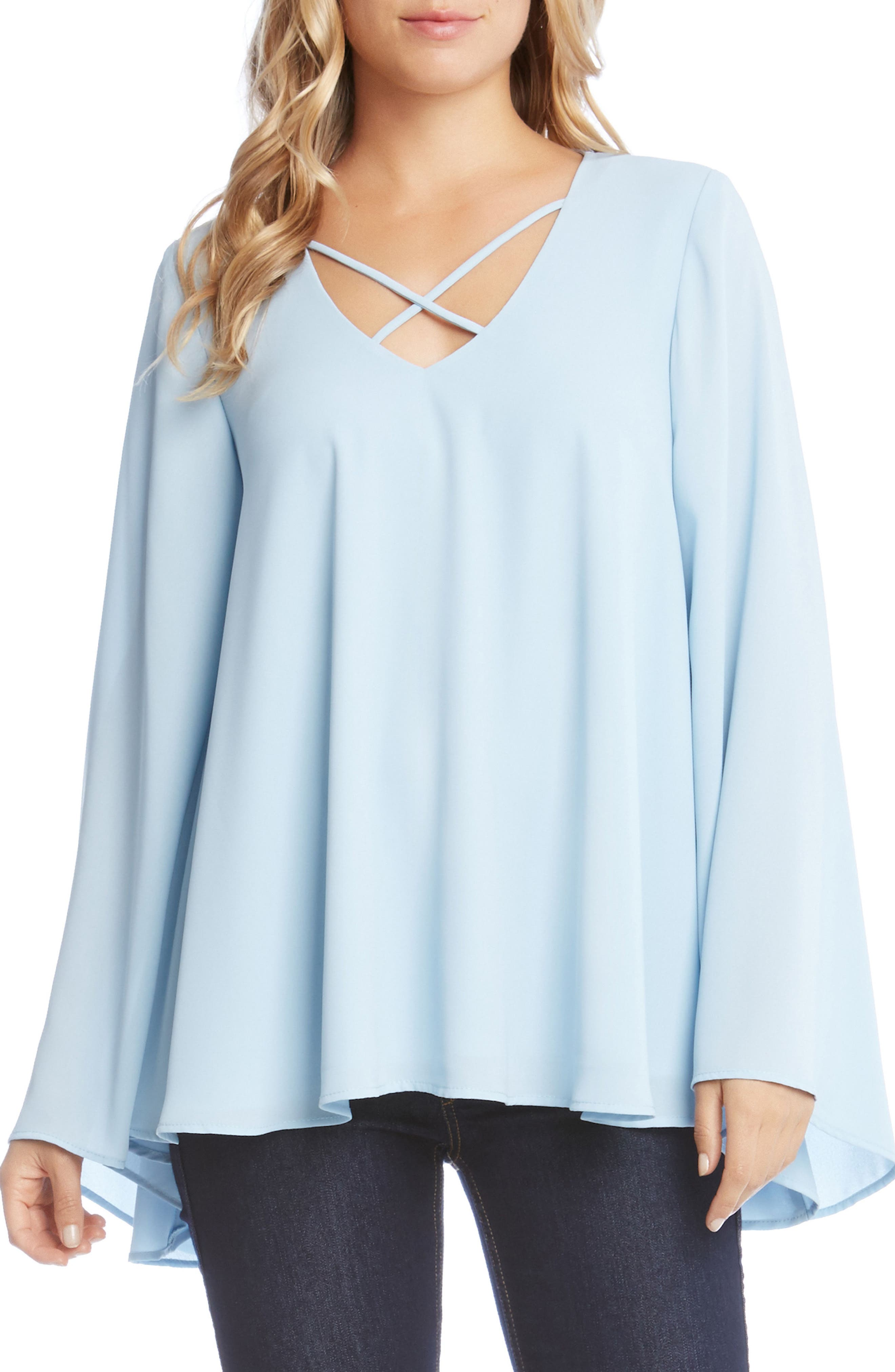Crisscross Bell Sleeve Top,                             Main thumbnail 1, color,                             Light Blue
