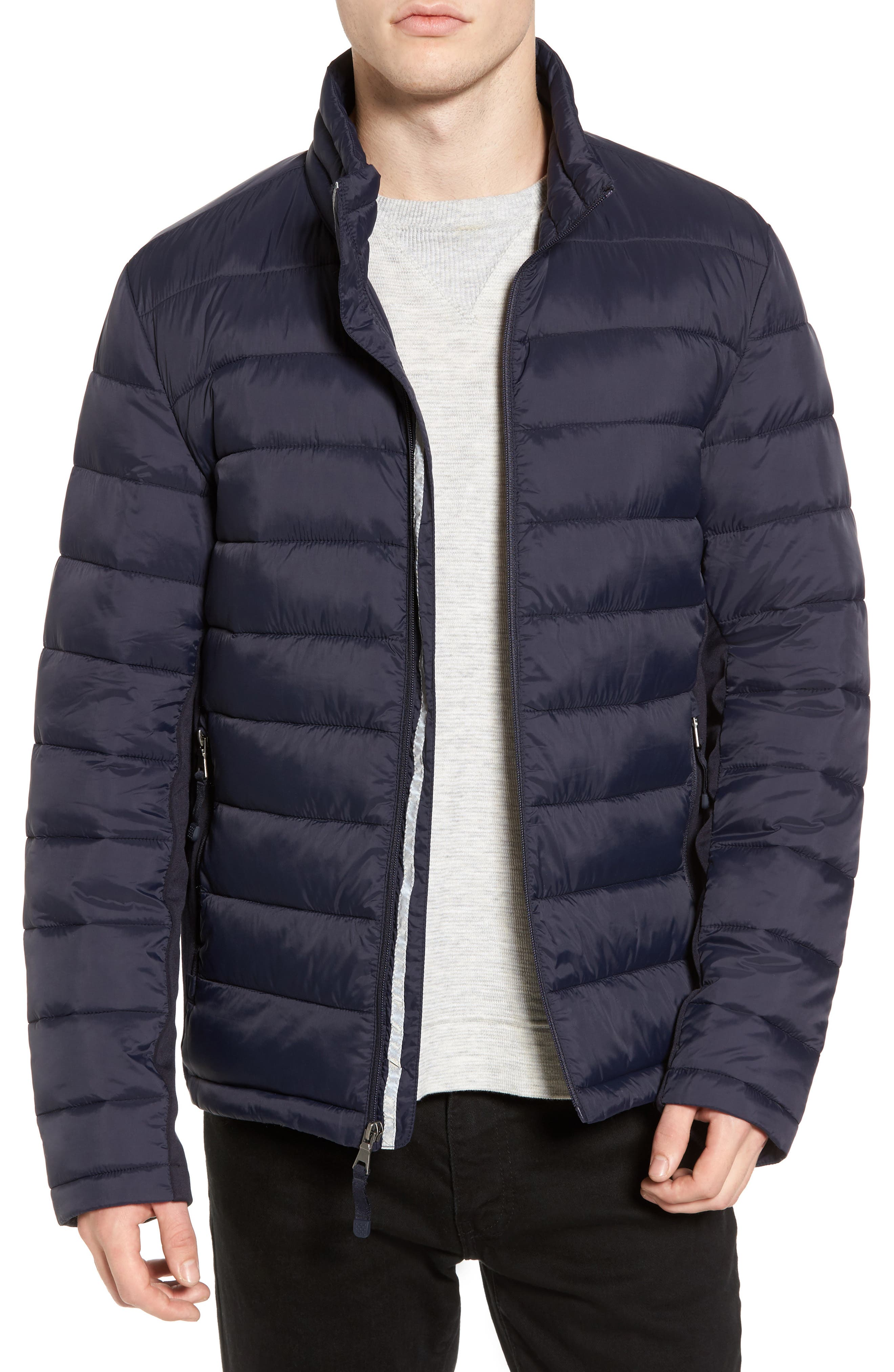 Water Resistant Packable Puffer Jacket,                         Main,                         color, Navy
