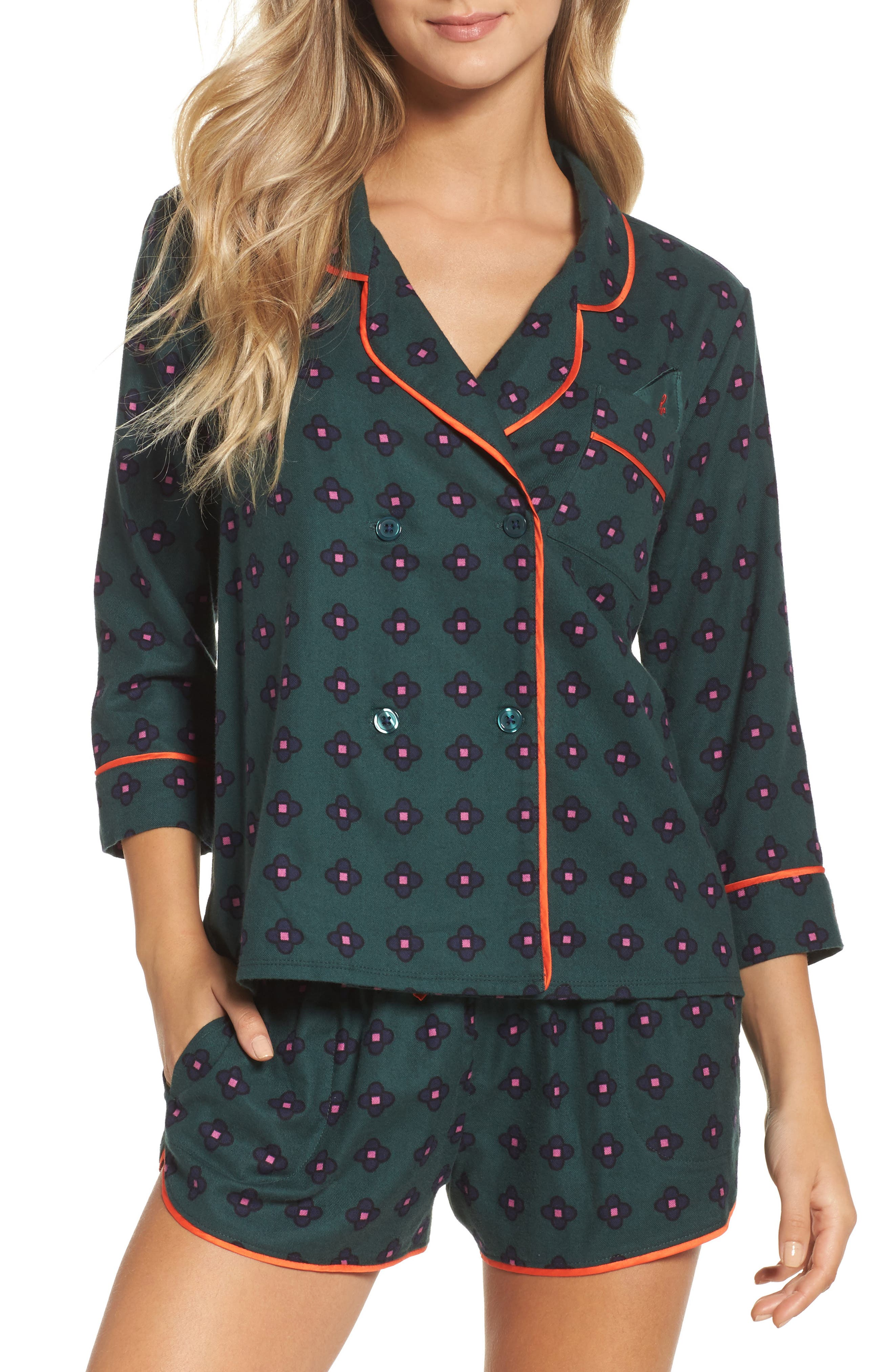 Main Image - Room Service Shorty Flannel Pajamas