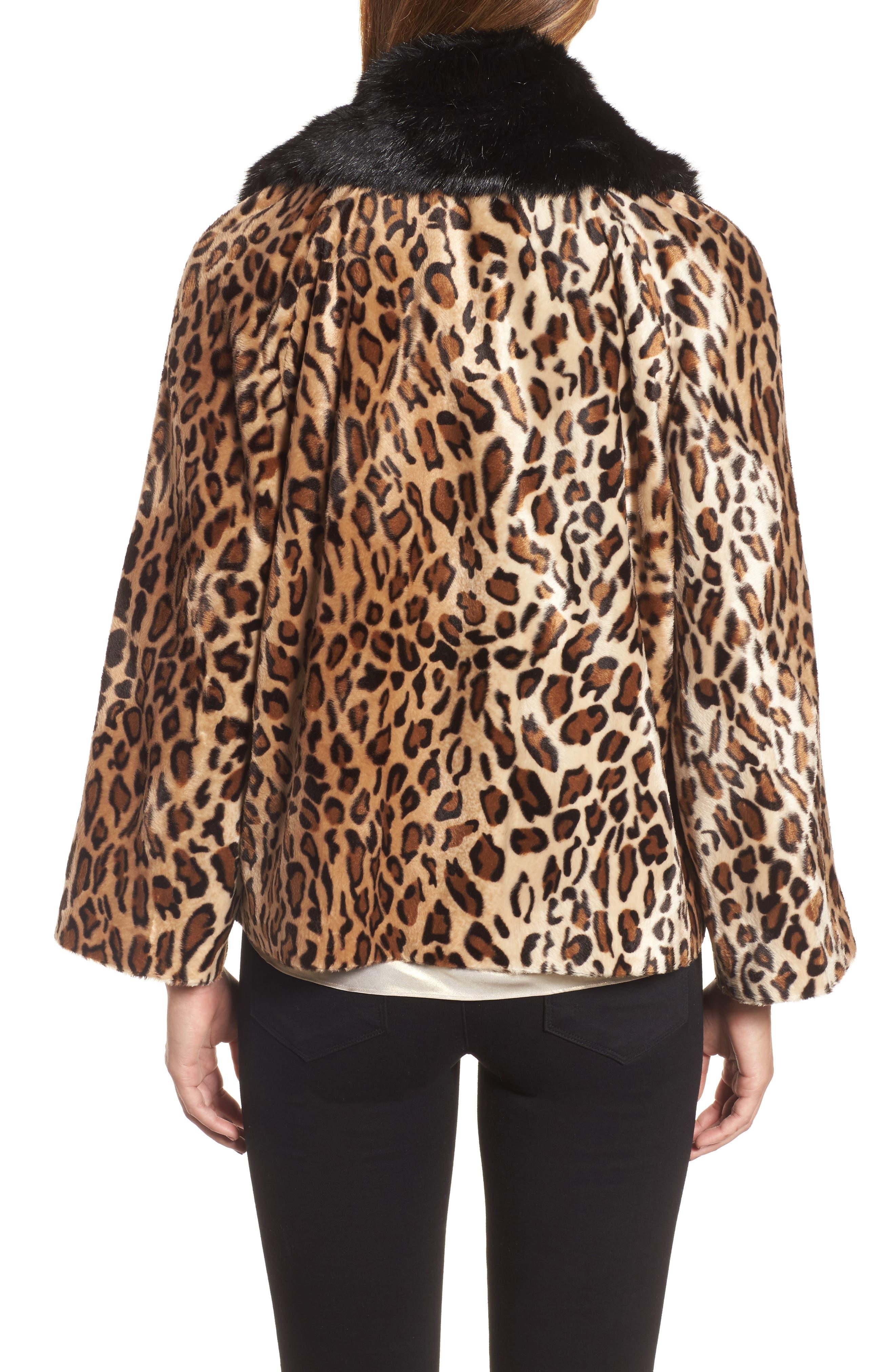 Faux Fur Leopard Jacket,                             Alternate thumbnail 2, color,                             Leopard