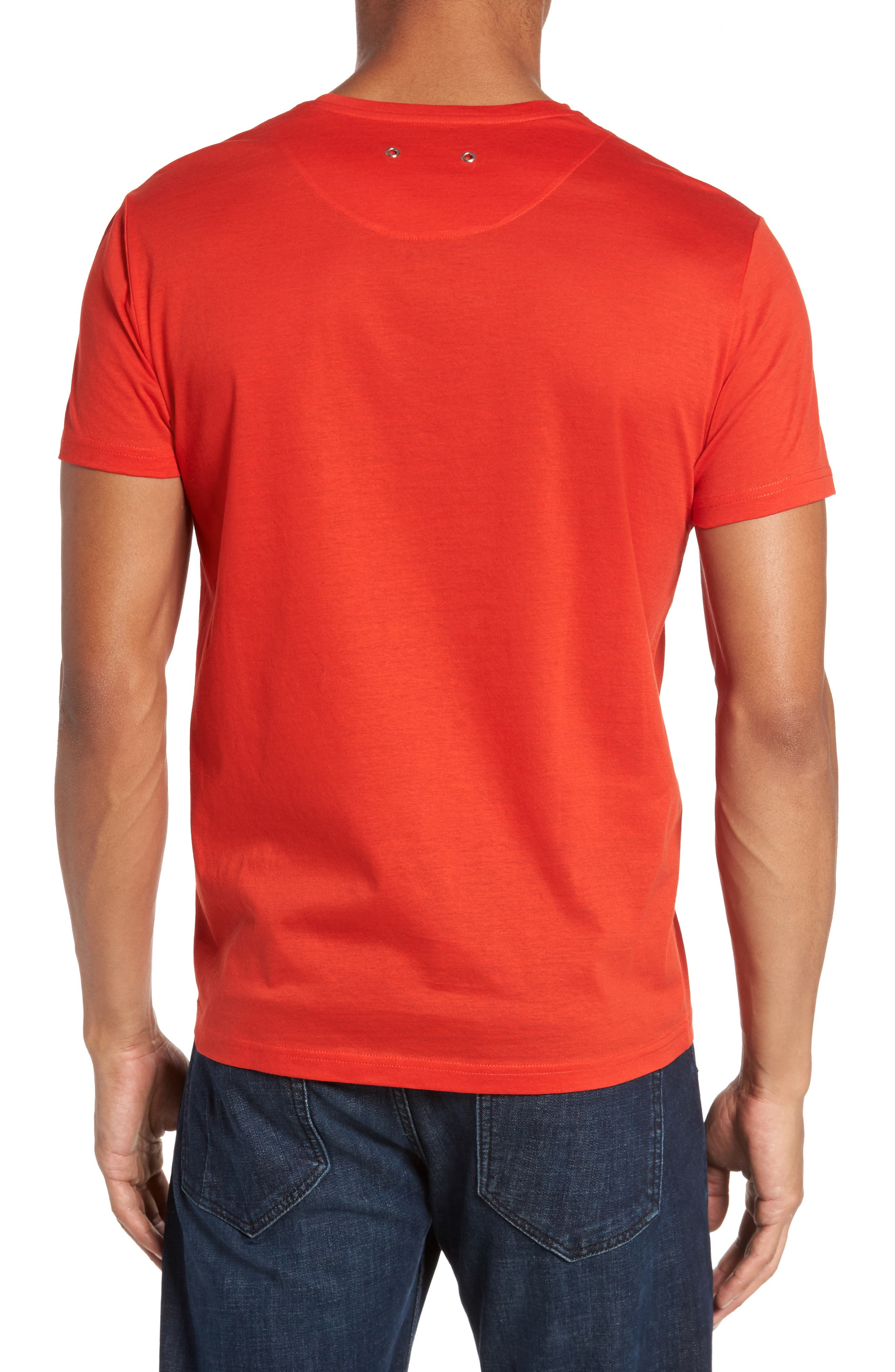 Classic Fit V-Neck T-Shirt,                             Alternate thumbnail 2, color,                             Poppy Red