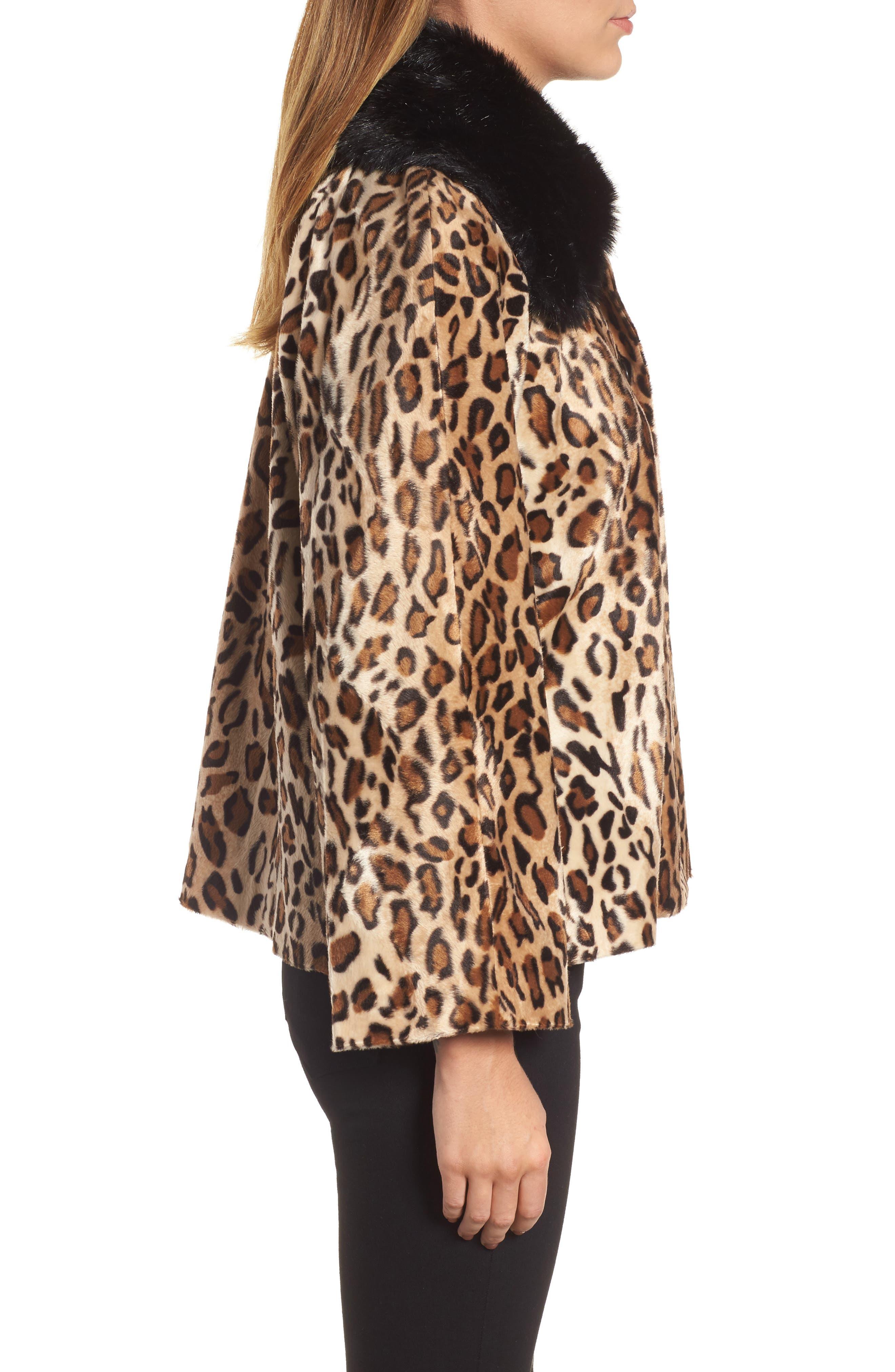 Faux Fur Leopard Jacket,                             Alternate thumbnail 3, color,                             Leopard