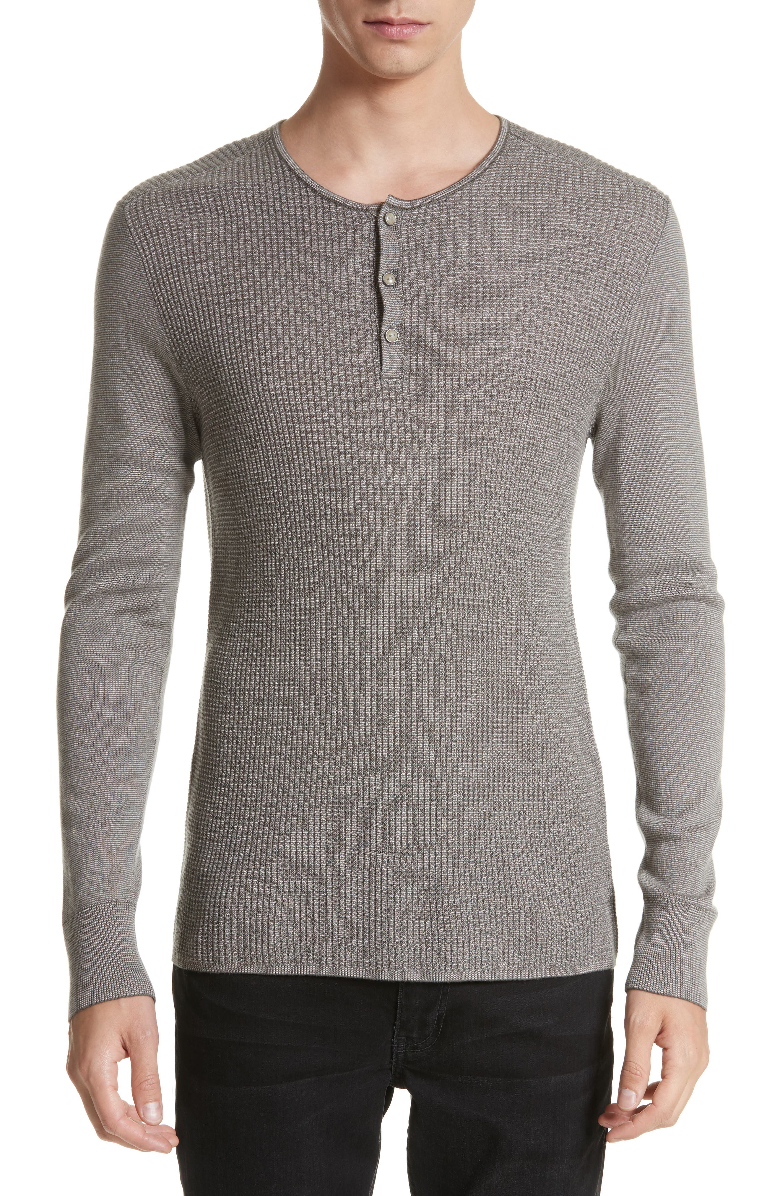 Waffle Knit Silk & Cashmere Henley Sweater,                             Main thumbnail 1, color,                             Sage