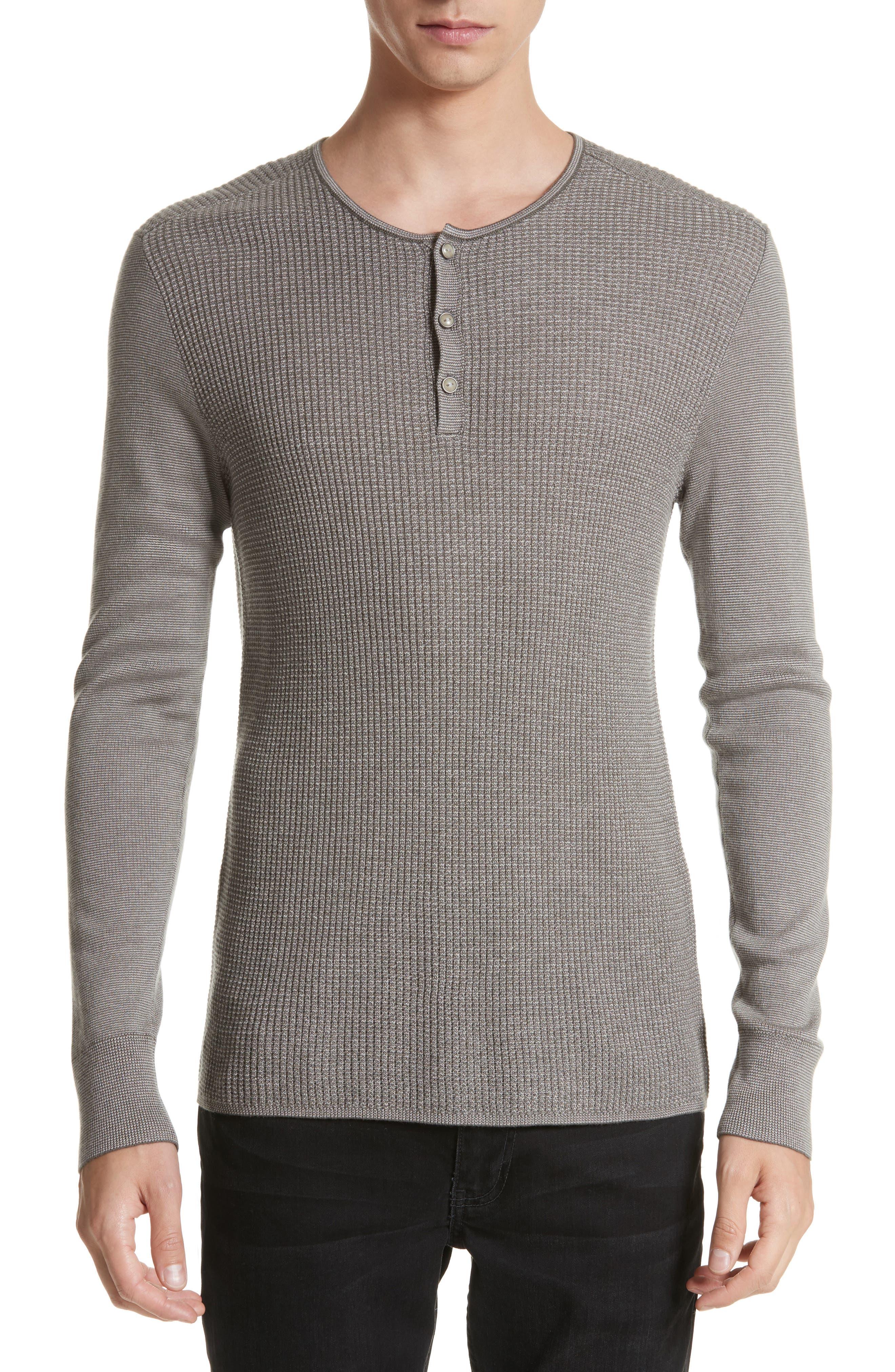 Main Image - John Varvatos Collection Waffle Knit Silk & Cashmere Henley Sweater