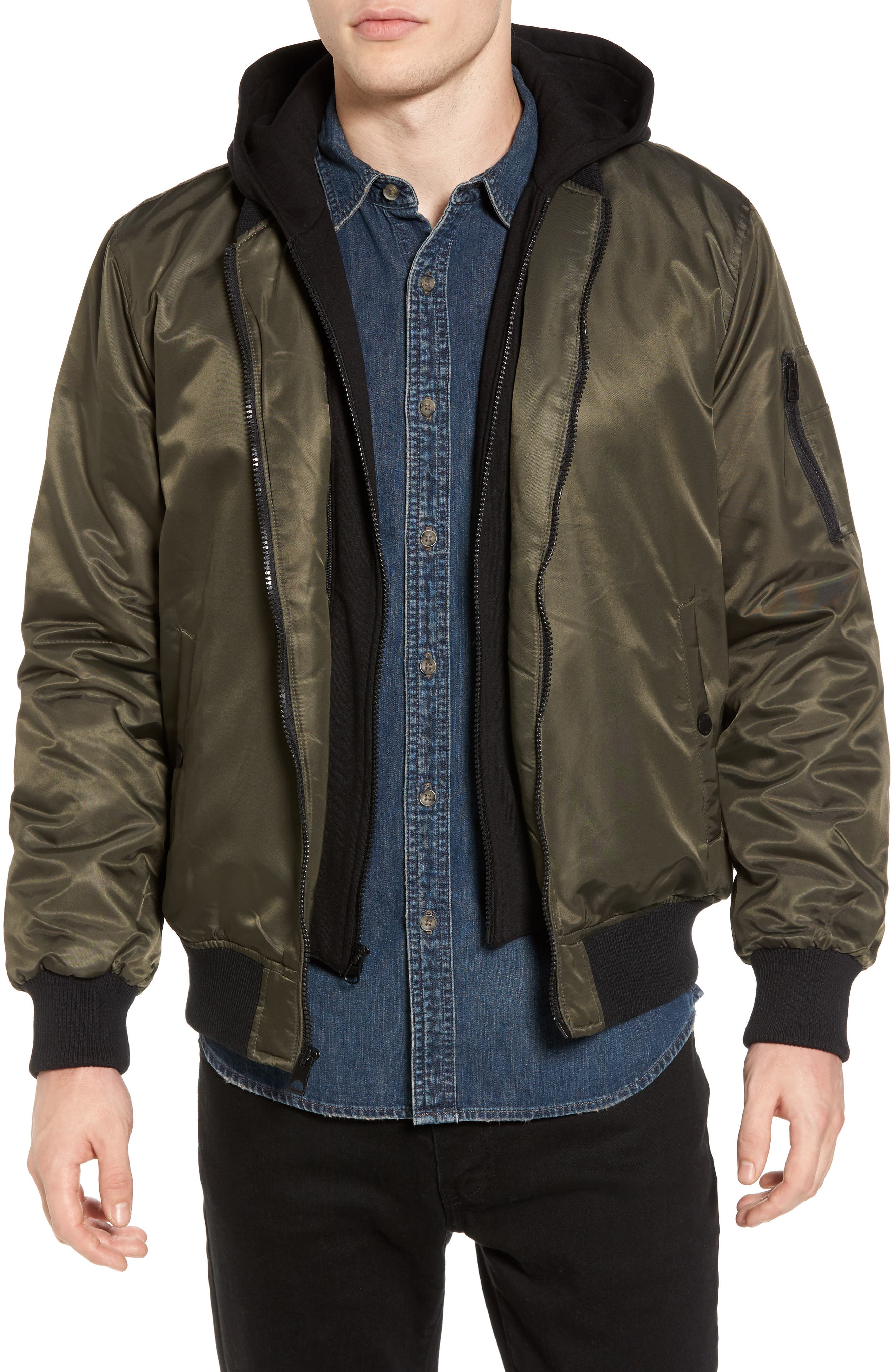 Black Rivet Water Resistant Hooded Satin Flight Jacket