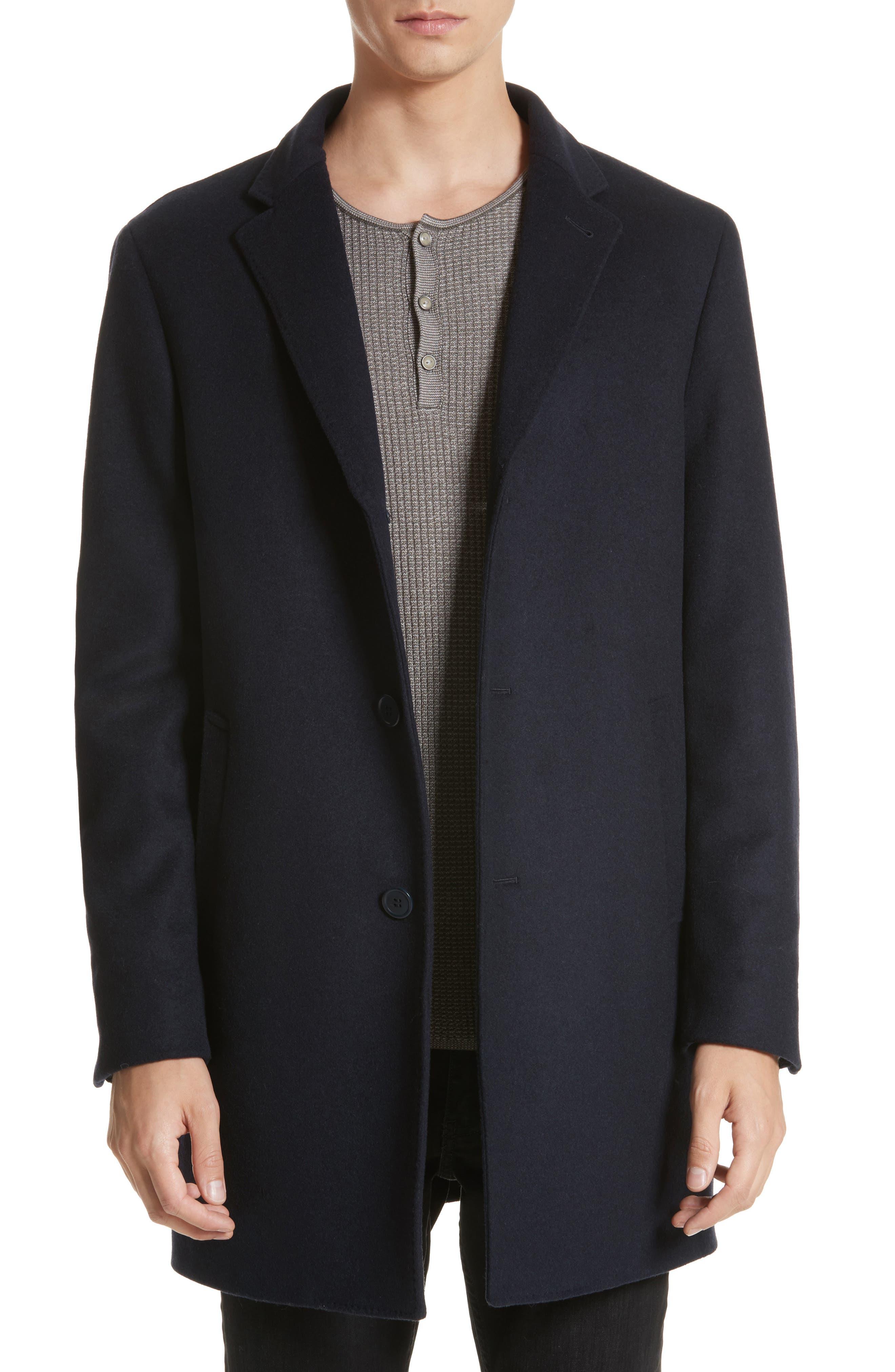 Walsh Wool Blend Topcoat,                         Main,                         color, Navy