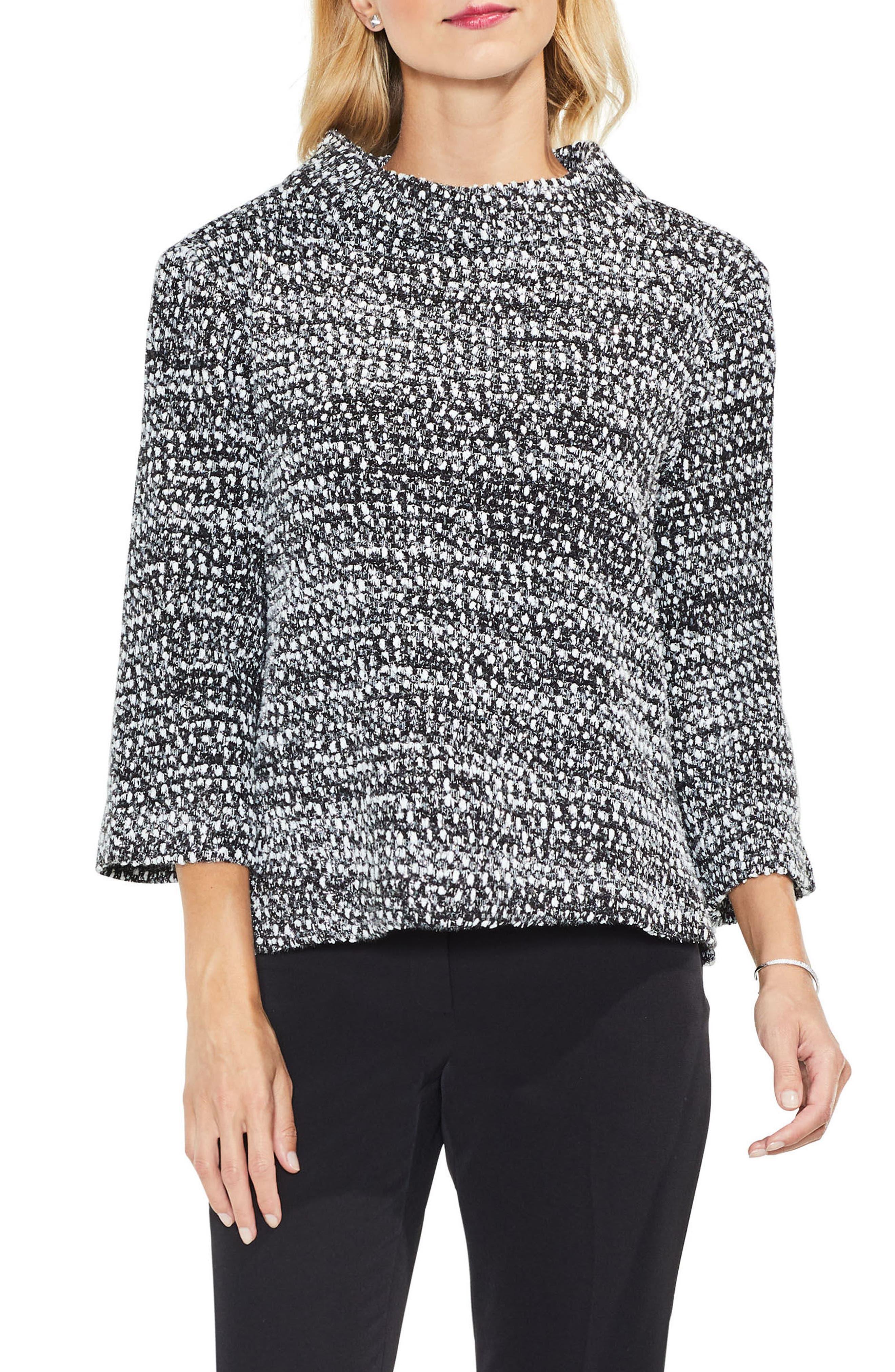 Metallic Knit Mock Neck Top,                         Main,                         color, Rich Black