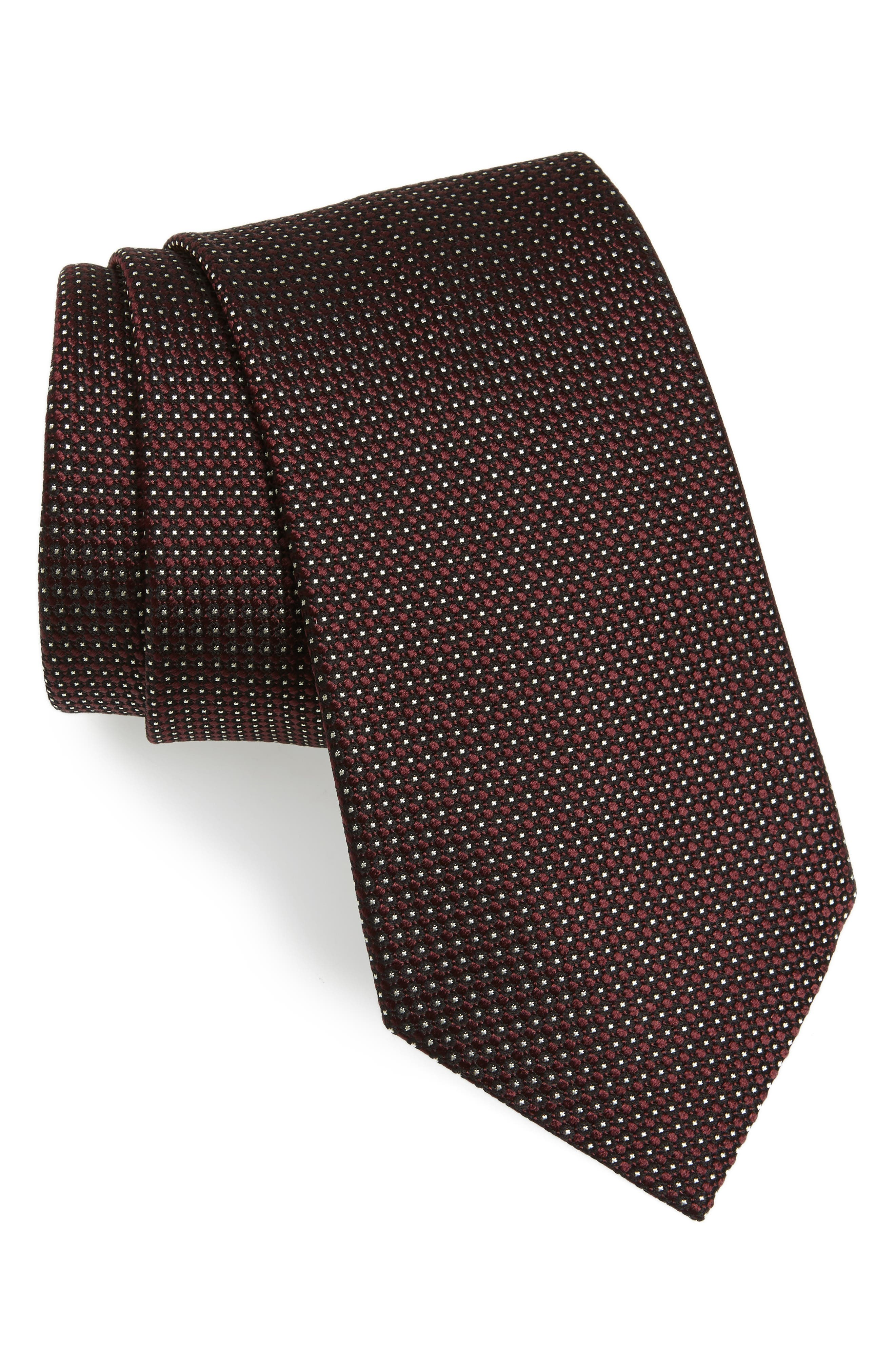 Neat Silk Tie,                             Main thumbnail 1, color,                             Red