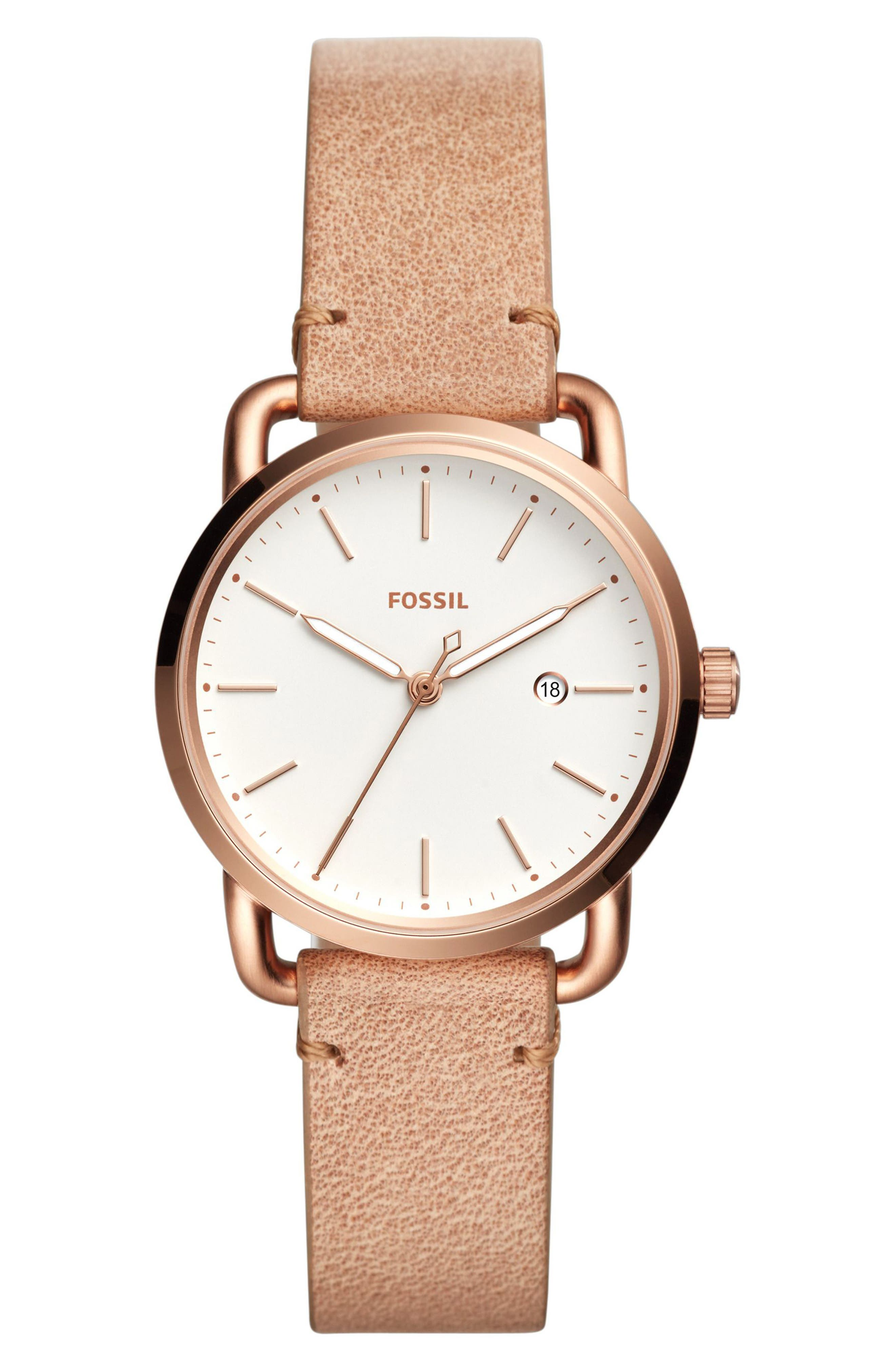 Commuter Leather Strap Watch, 34mm,                         Main,                         color, Beige/ White/ Rose Gold