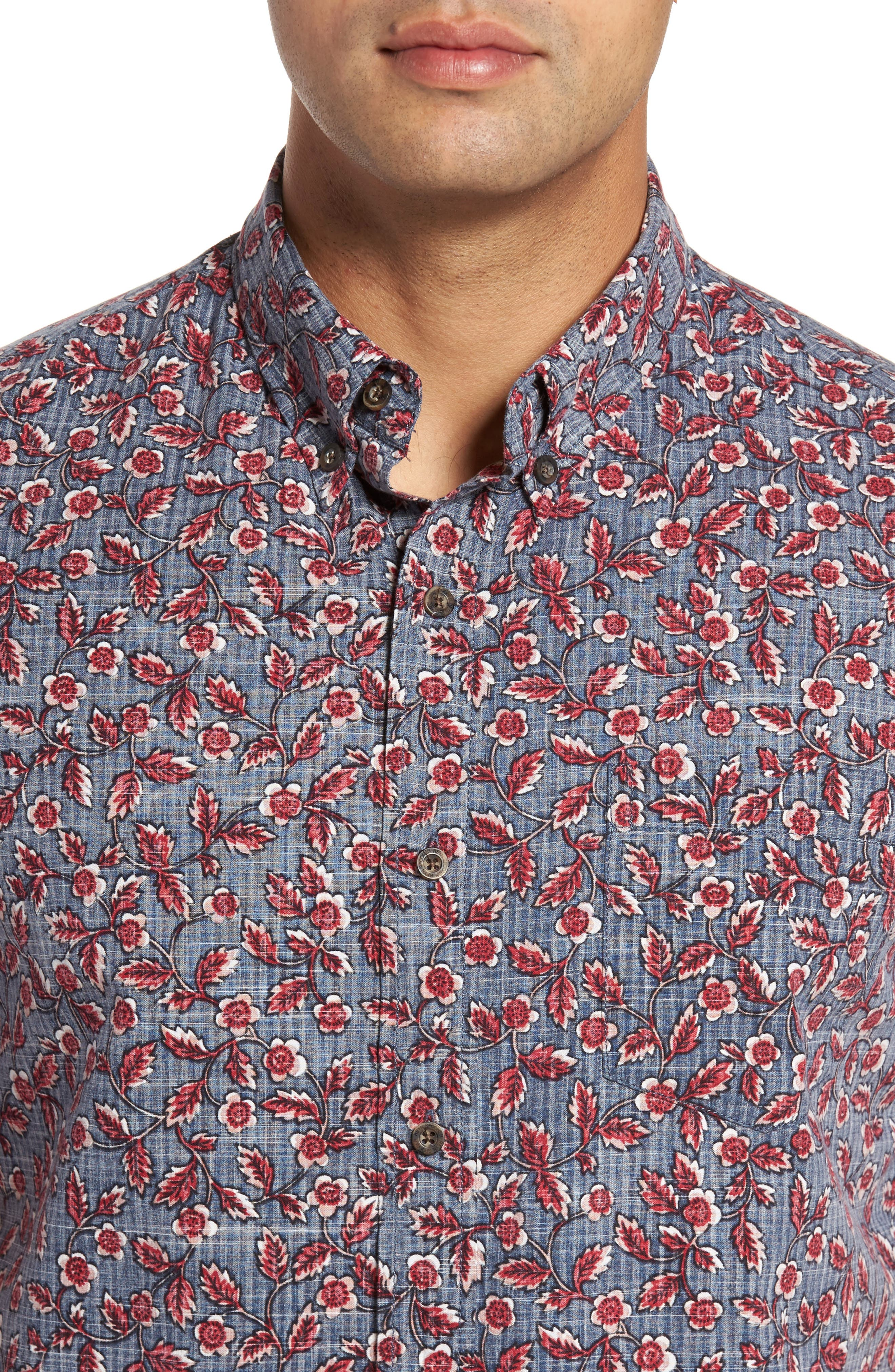Upcountry Floral Regular Fit Sport Shirt,                             Alternate thumbnail 4, color,                             Navy