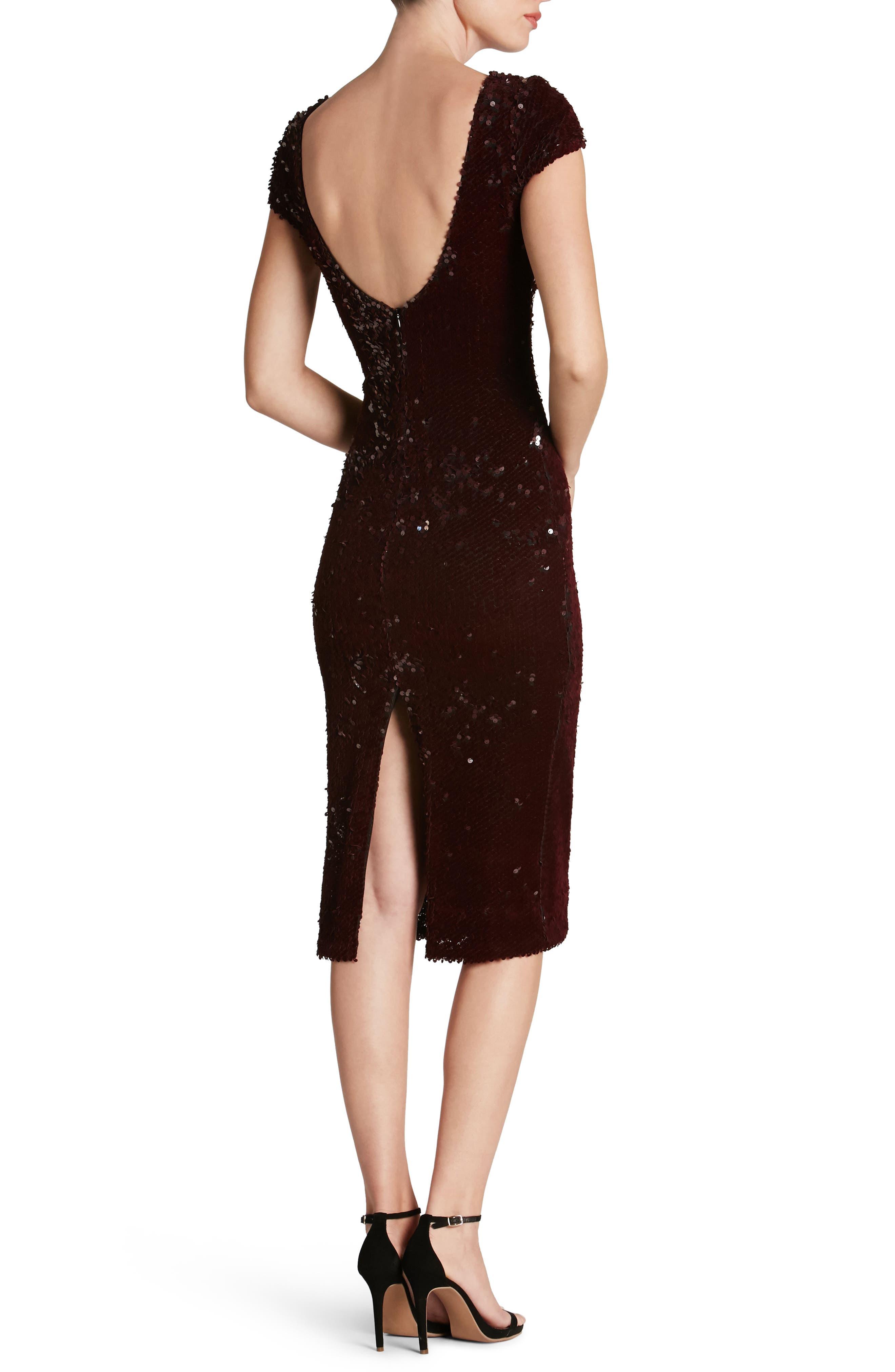 Marcella Sequin Body-Con Dress,                             Alternate thumbnail 2, color,                             Burgundy