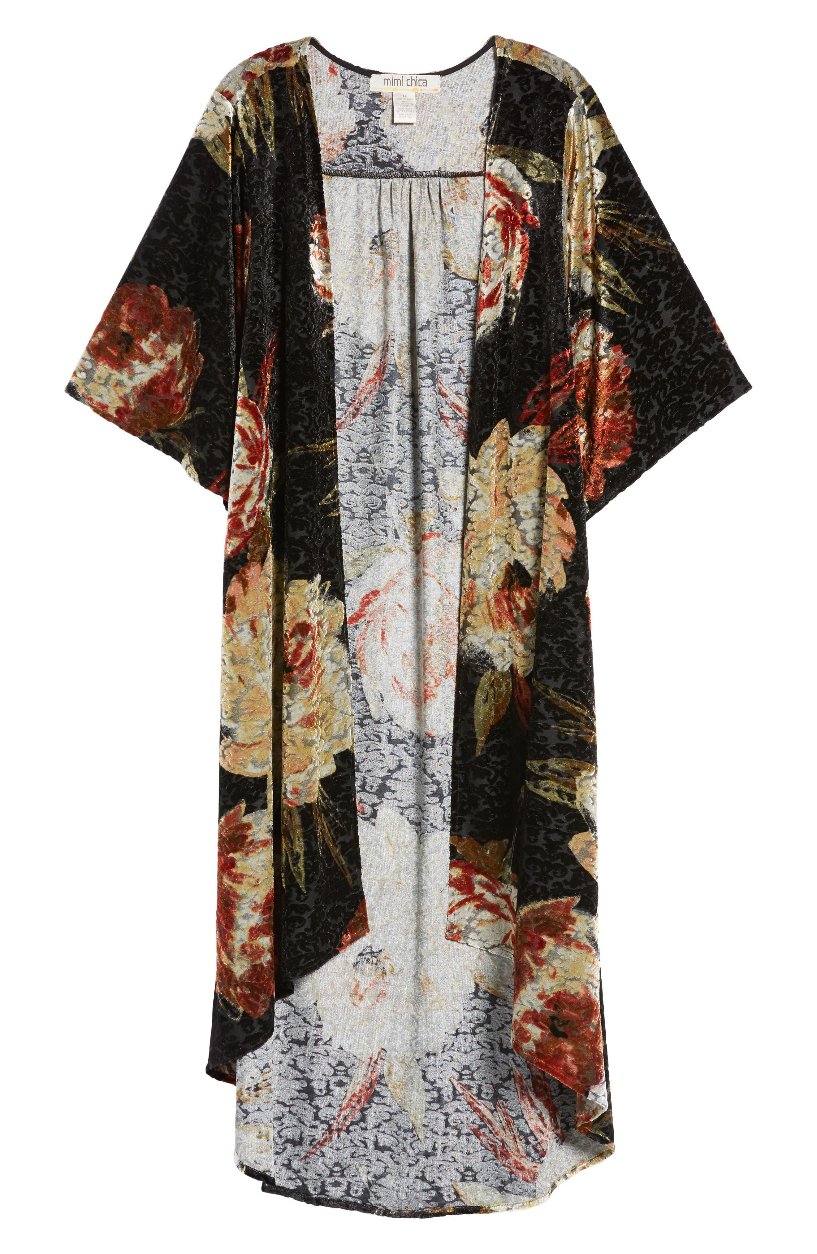 Burnout Floral Kimono,                             Alternate thumbnail 6, color,                             Black Floral