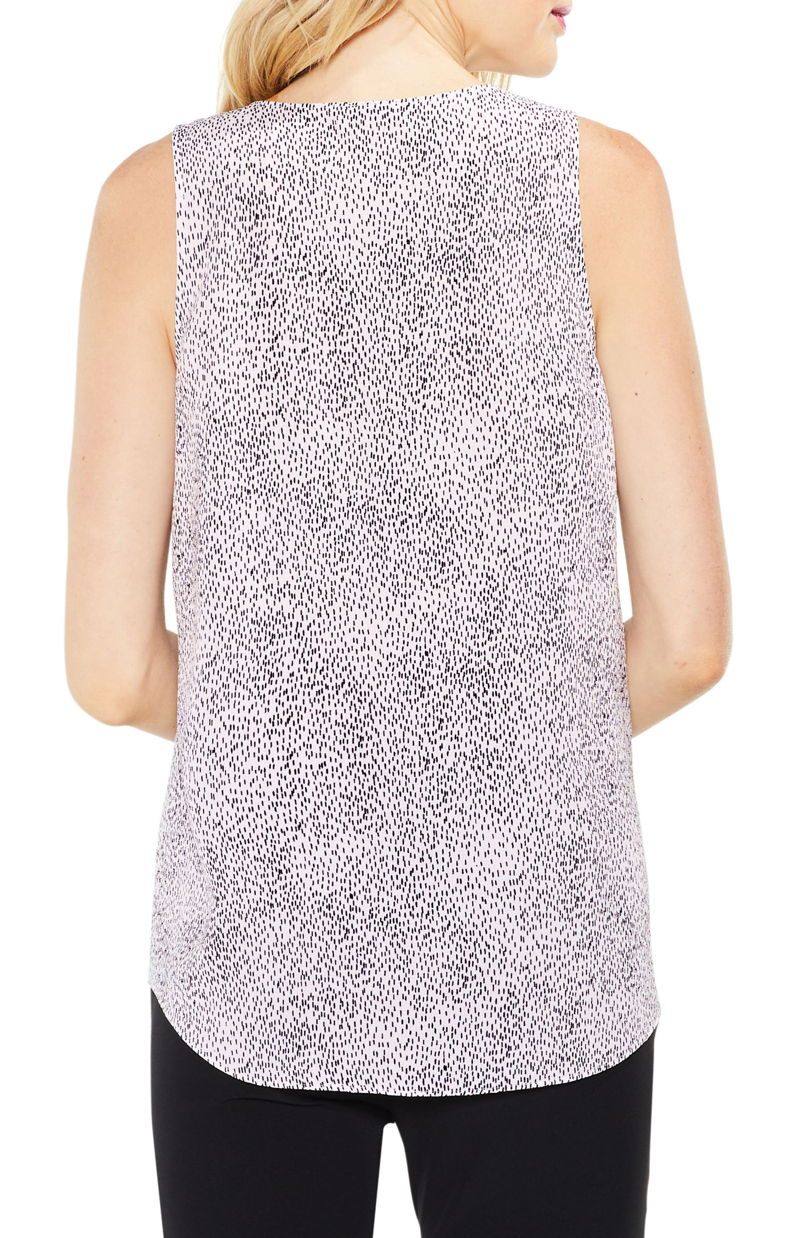 Dashes Sleeveless Drape Front Top,                             Alternate thumbnail 2, color,                             Opal Rose