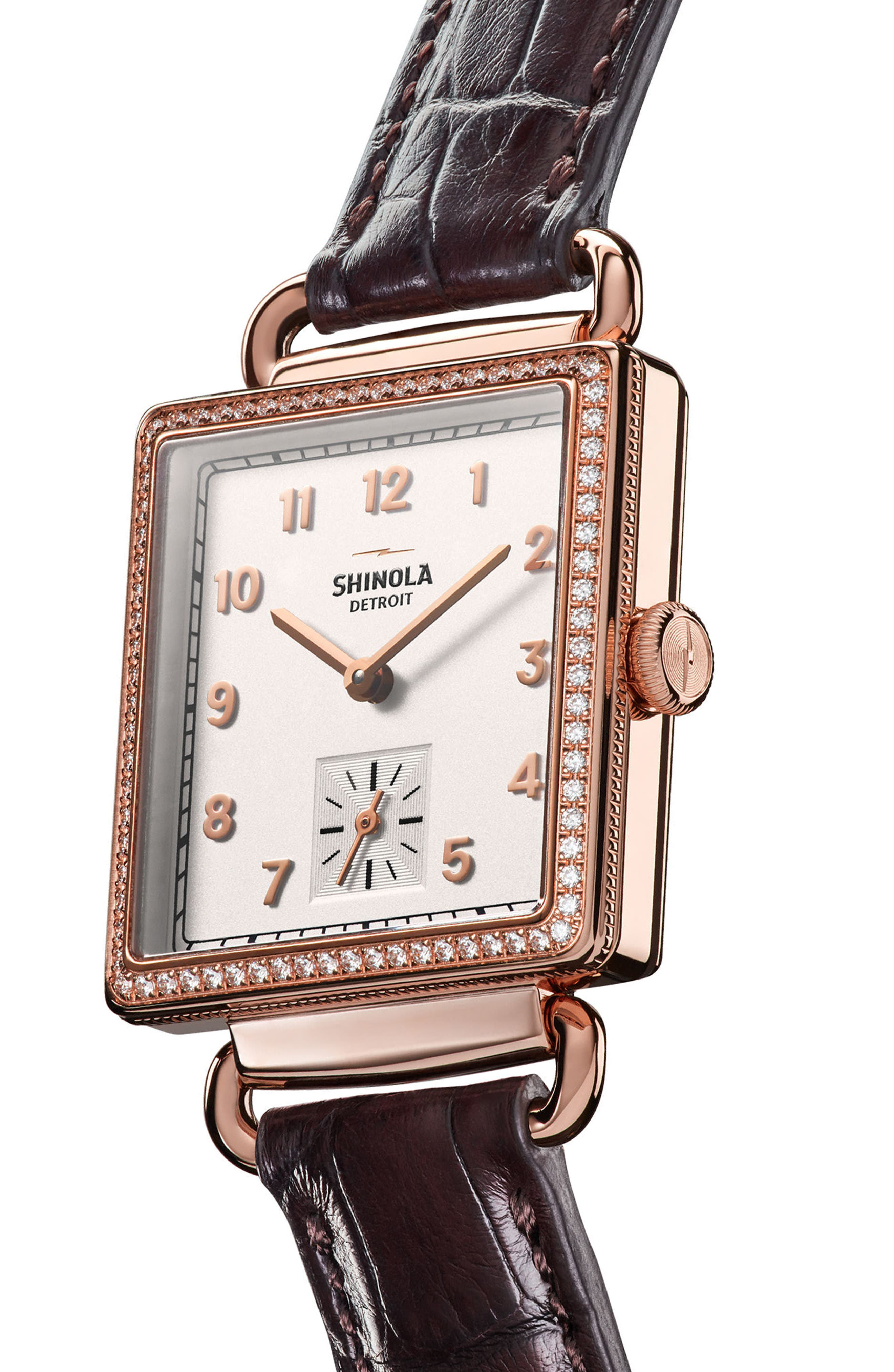 Cass Diamond Leather Strap Watch, 28mm x 27mm,                             Alternate thumbnail 3, color,                             Black/ White/ Rose Gold