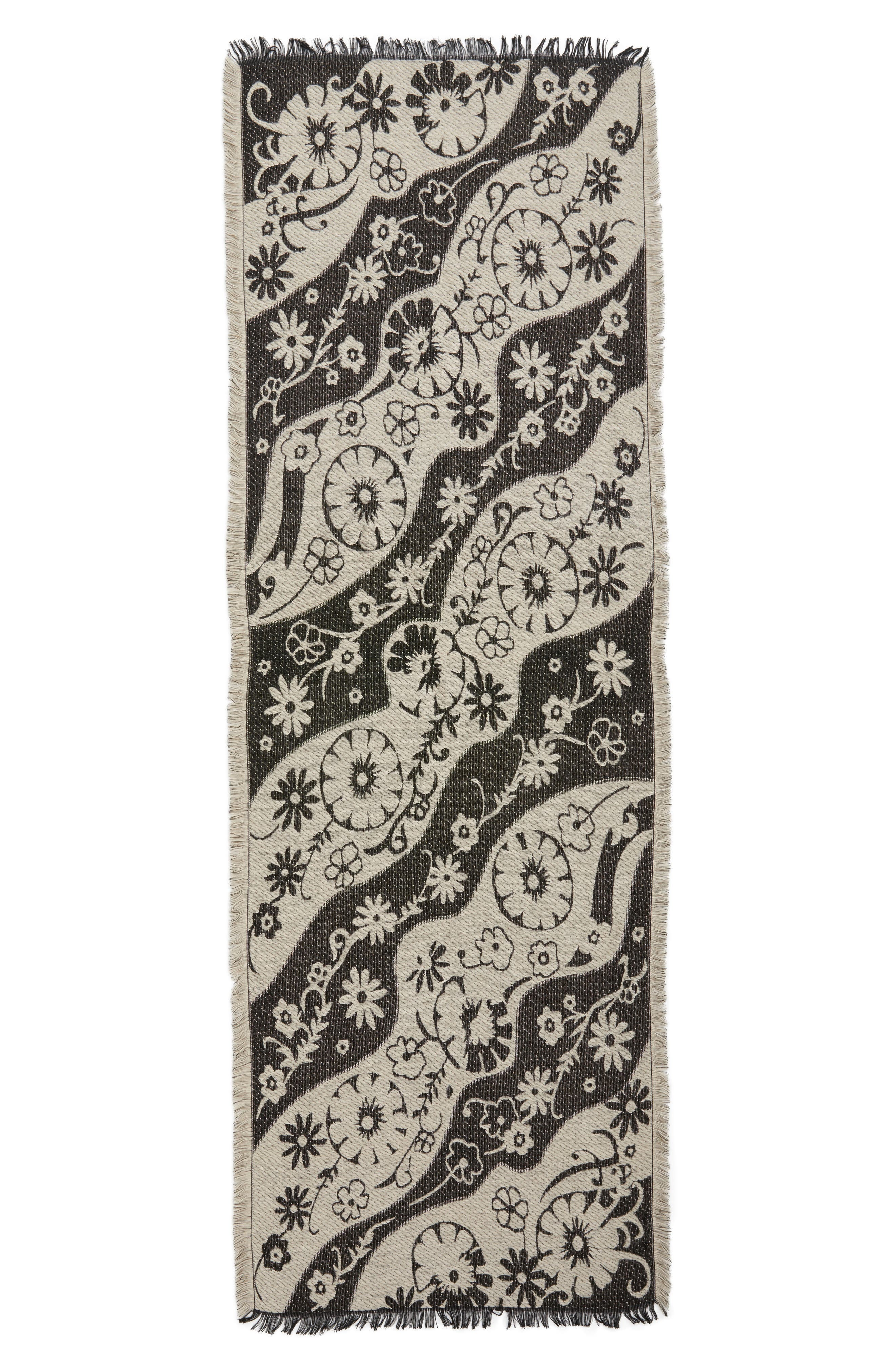 Floral Scarf,                             Alternate thumbnail 3, color,                             Ivory Combo