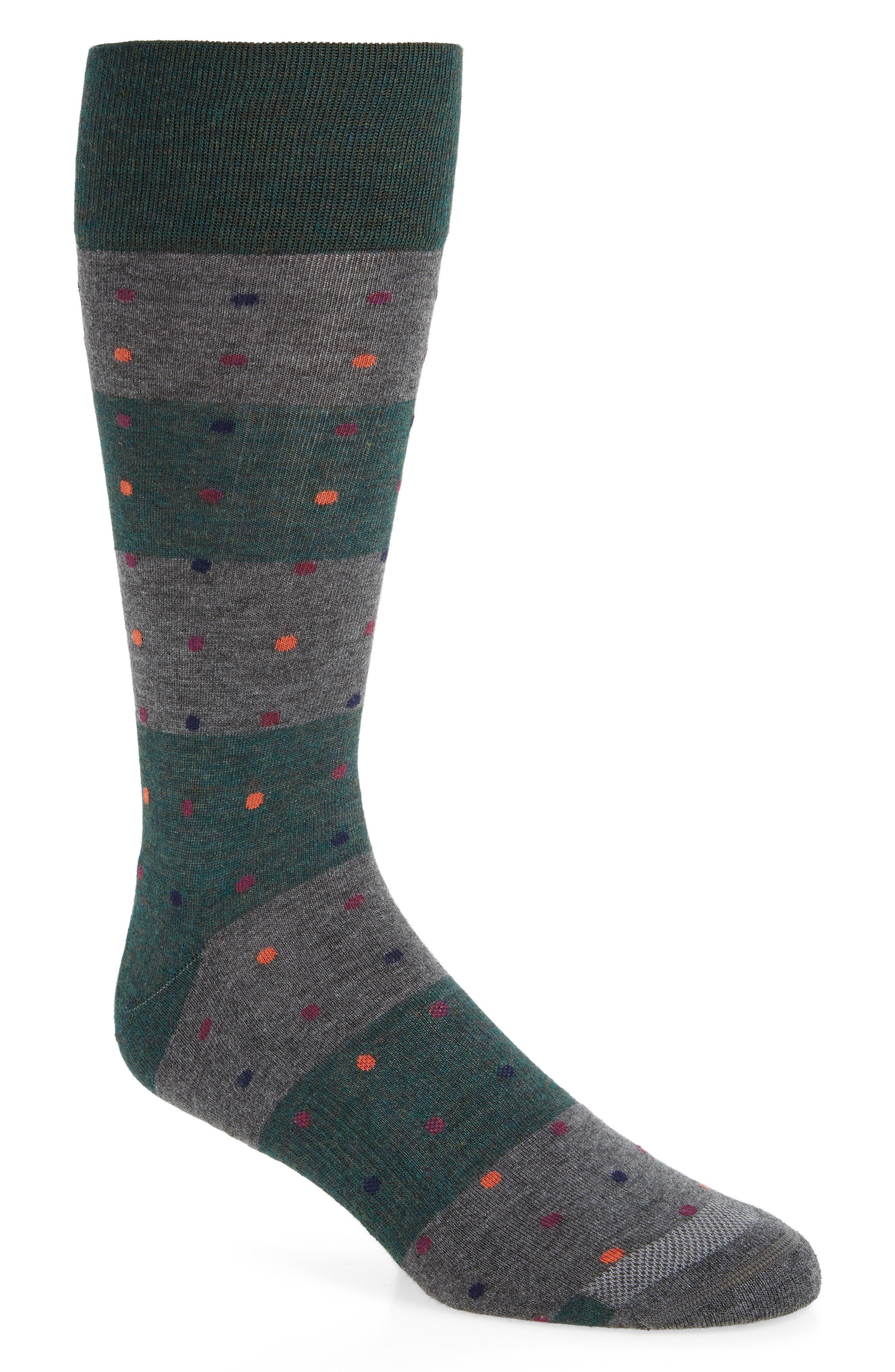 Dot Block Socks,                             Main thumbnail 1, color,                             Green Sycamore