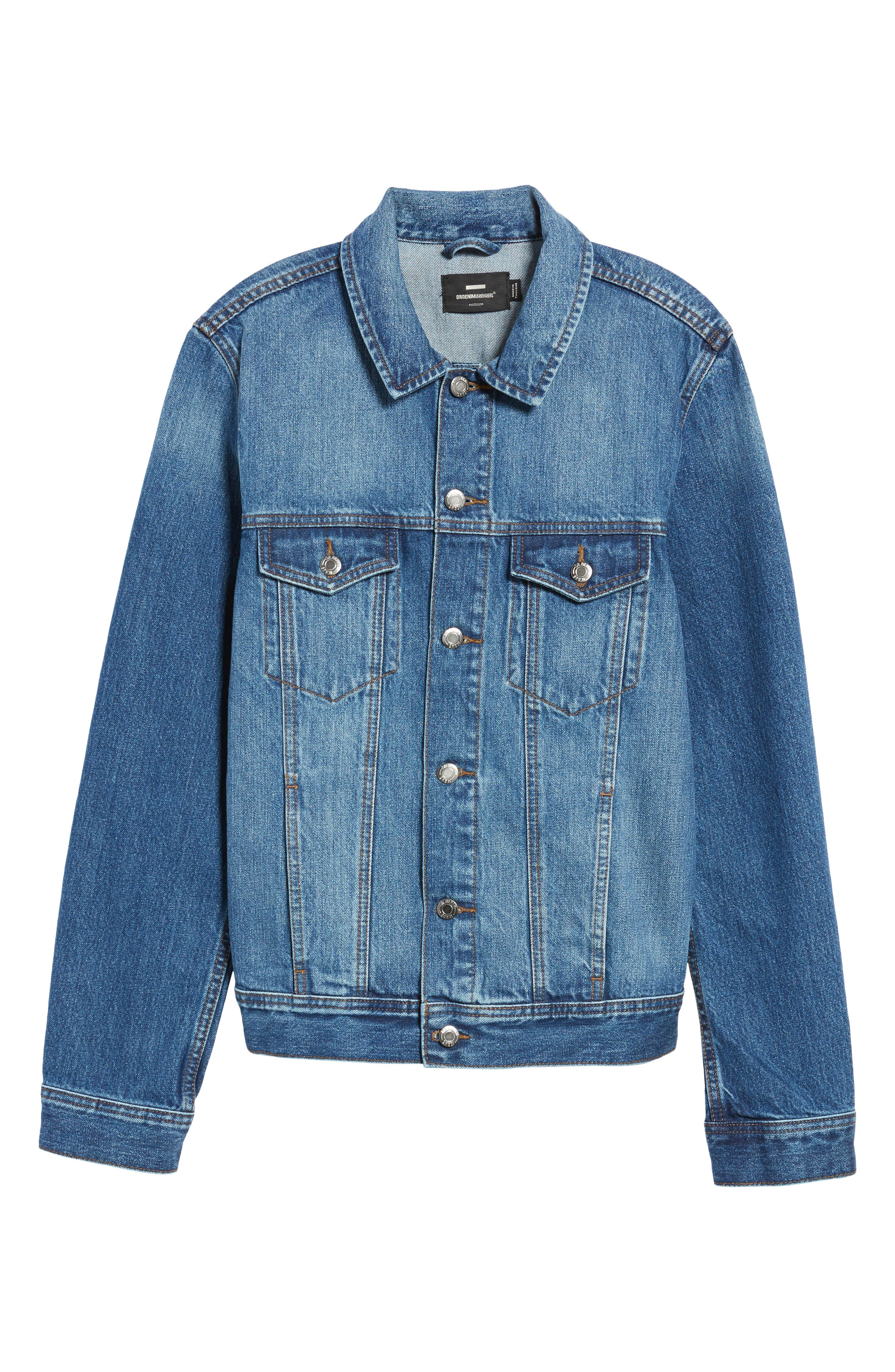 Dwight Denim Jacket,                             Alternate thumbnail 6, color,                             Worn Mid Blue
