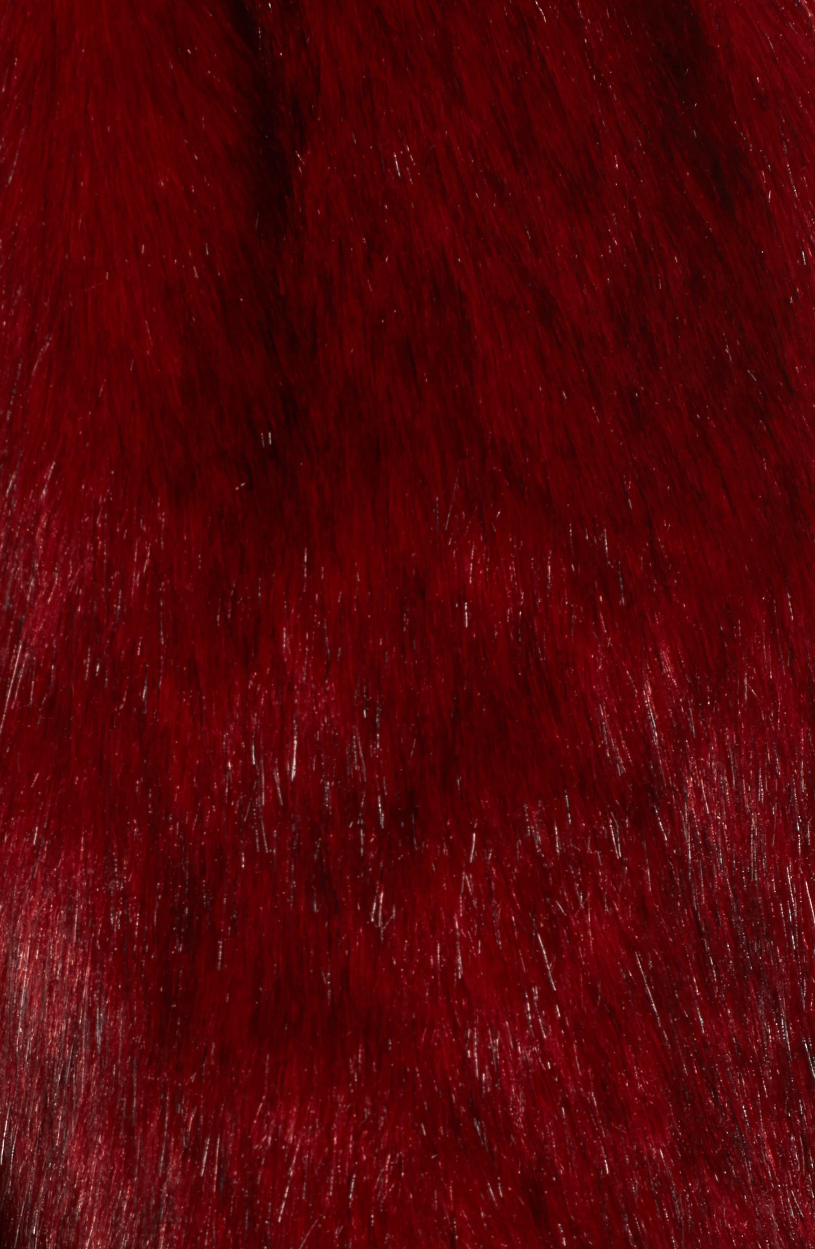 Faux Fur Jacket,                             Alternate thumbnail 5, color,                             Rouge Mink