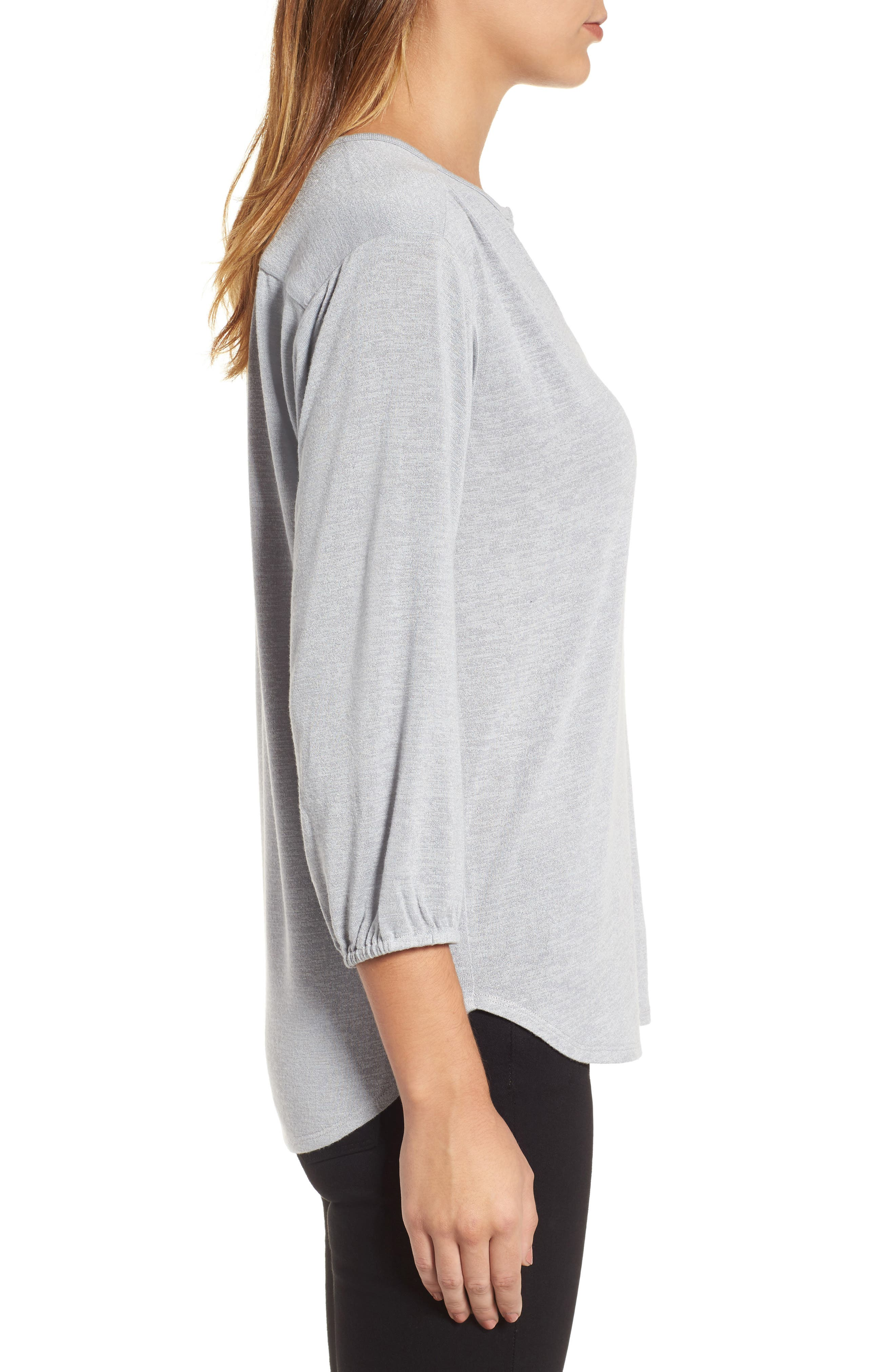 Snowfall Stretch Knit Top,                             Alternate thumbnail 3, color,                             Icy Grey
