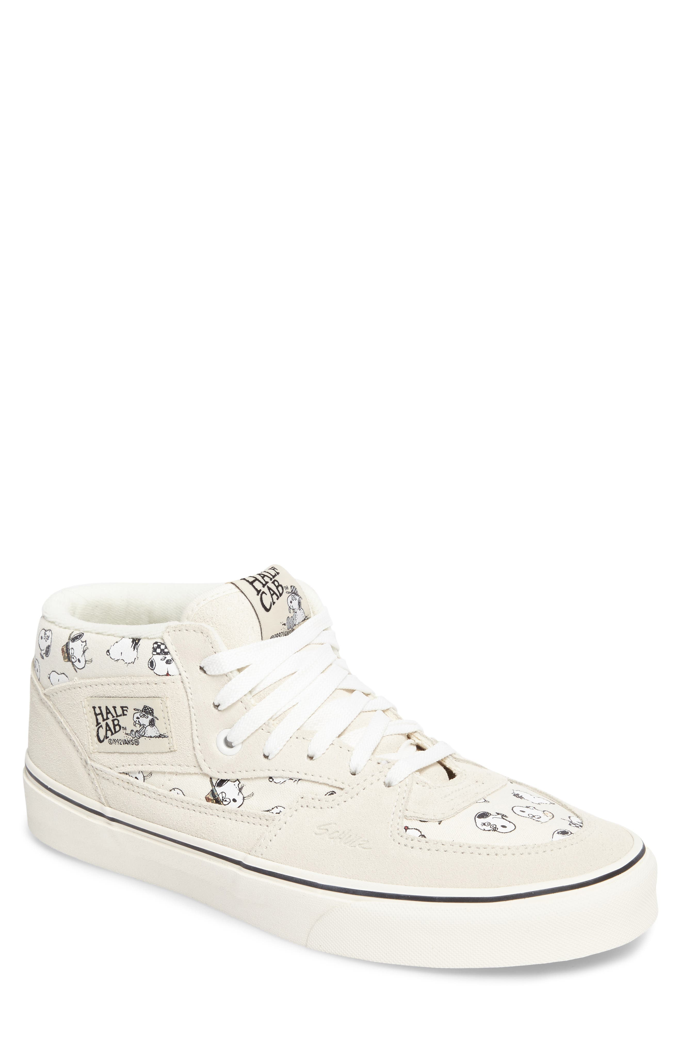 x Peanuts<sup>®</sup> Half Cab Sneaker,                             Main thumbnail 1, color,                             Marshmallow Canvas/Suede