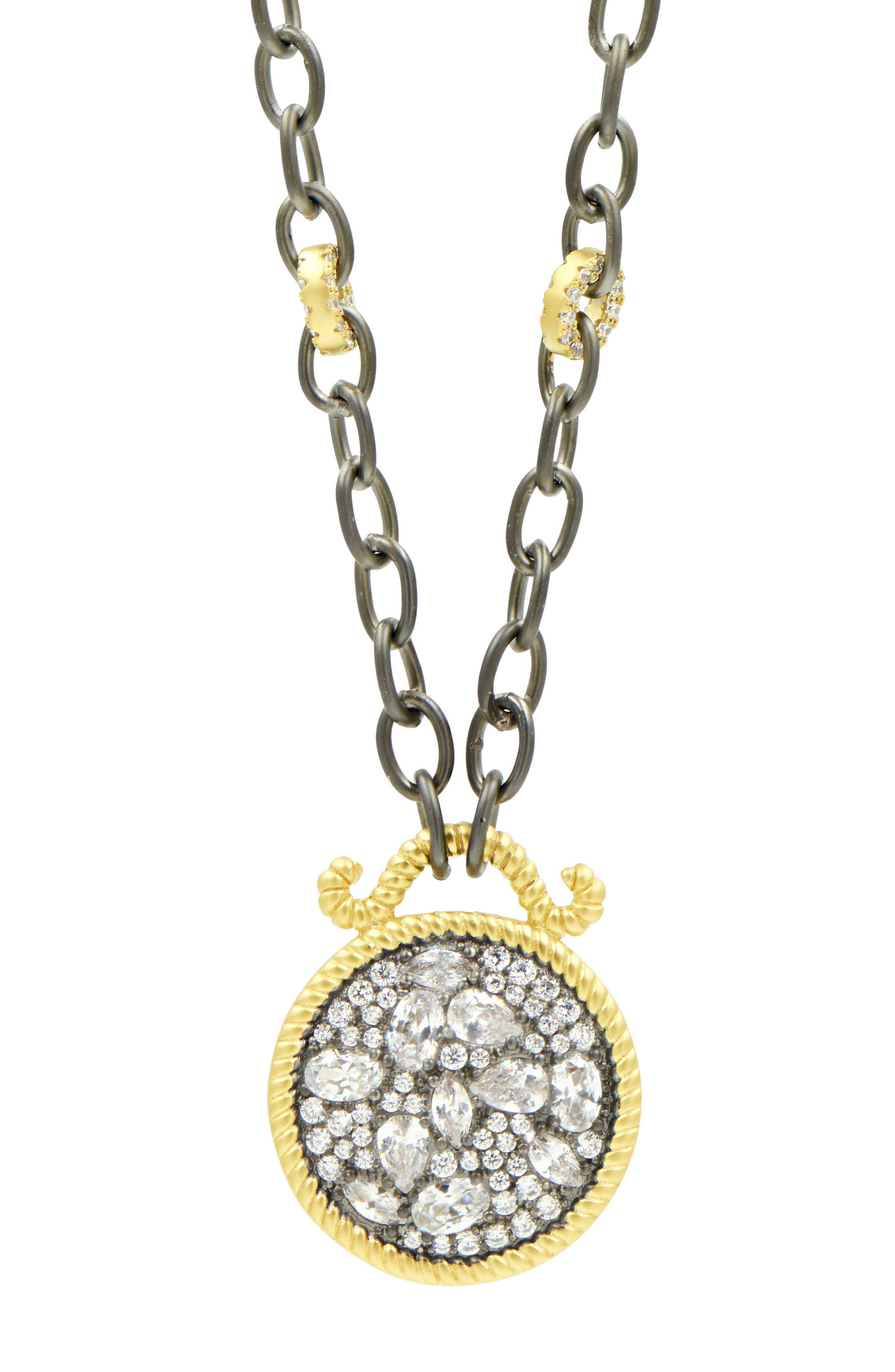 Gilded Cable Reversible Pendant Necklace,                             Alternate thumbnail 3, color,                             Black/ Gold