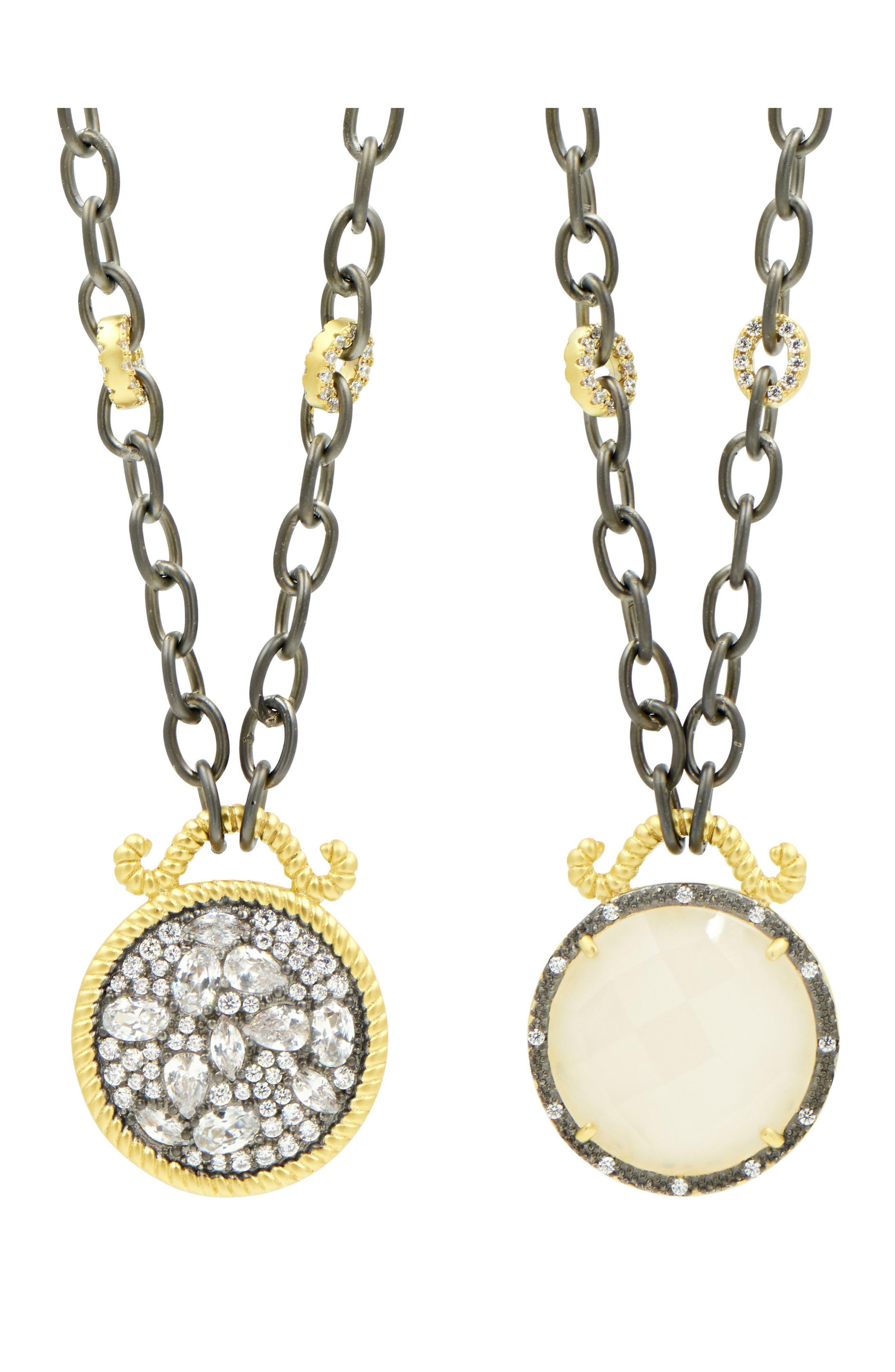 Gilded Cable Reversible Pendant Necklace,                             Alternate thumbnail 4, color,                             Black/ Gold
