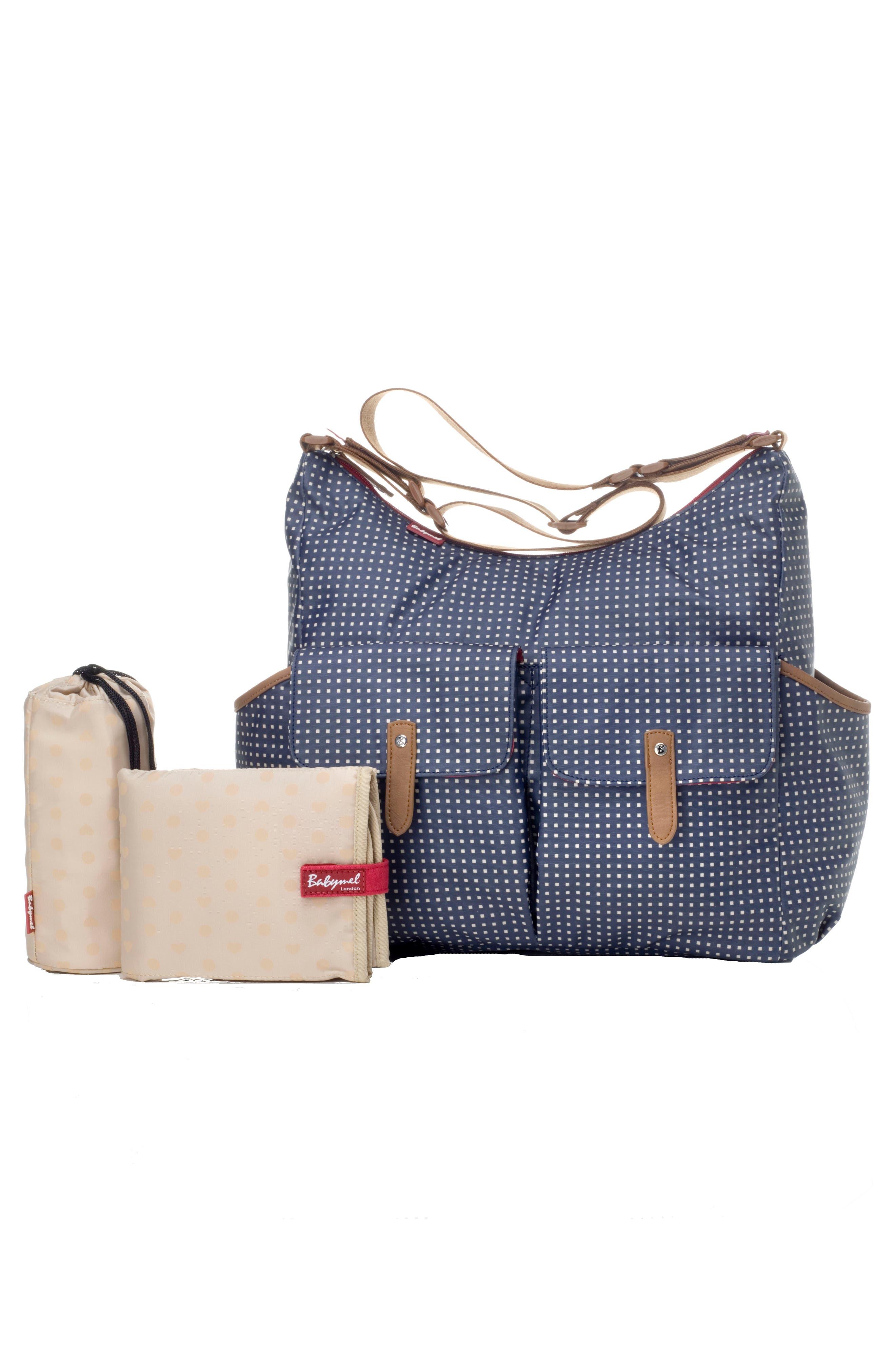Frankie Diaper Bag,                             Alternate thumbnail 4, color,                             Pixel Dot Navy